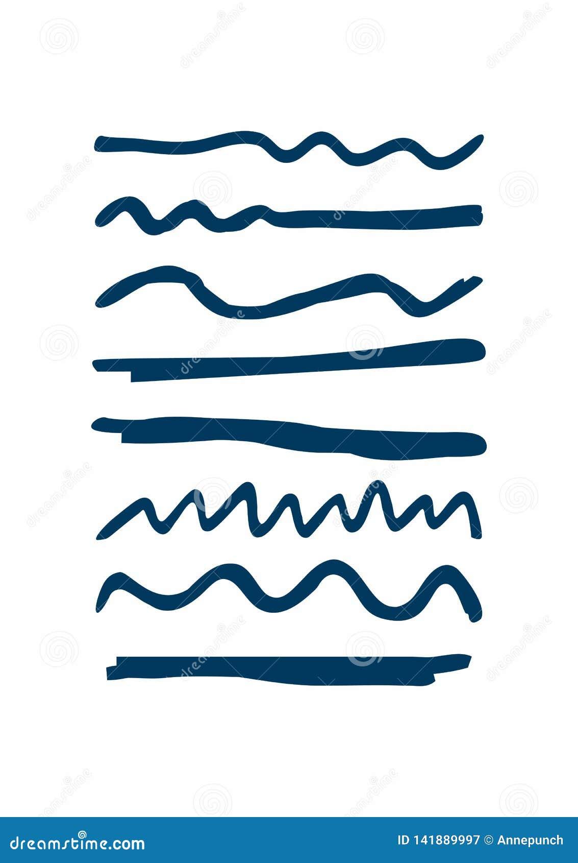 Ställ in av blåa understrykningar som dras av handen Grova horisontal- och krabba linjer Skissa, klottra, klottra