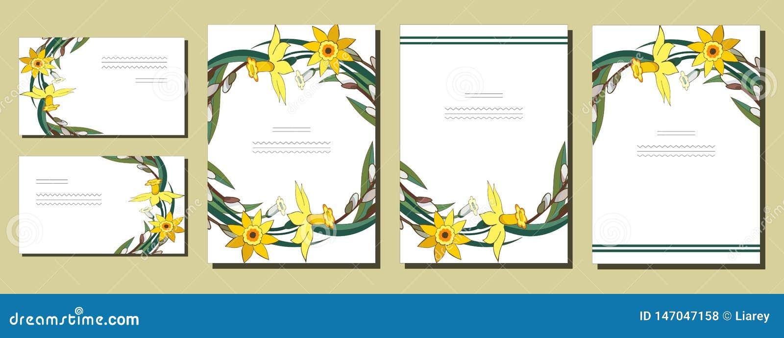 Ställ in av blom- vårmallar med grupper av gula påskliljor och pilen Kort med pingstliljan och salixen F?r romantiker