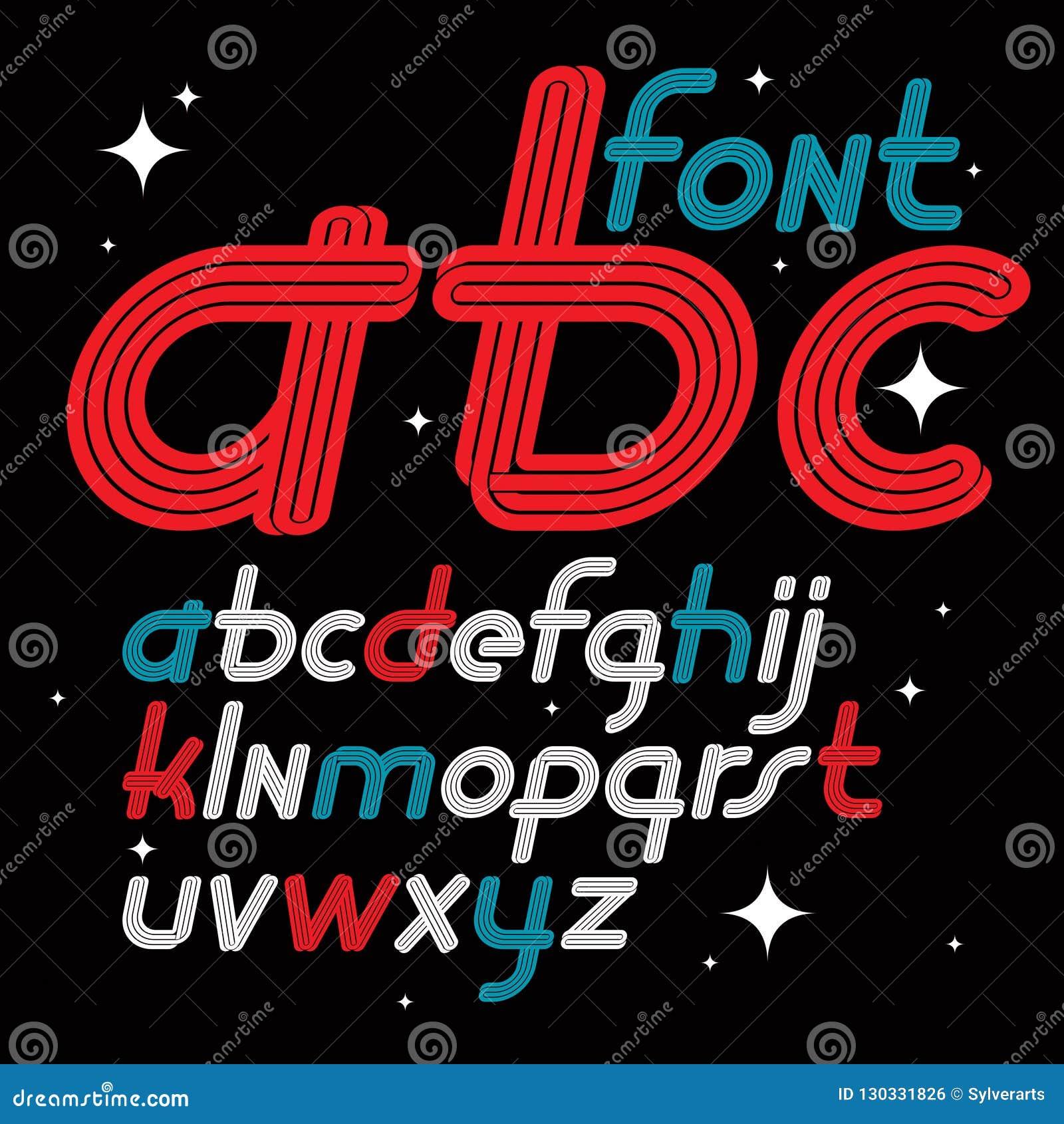 Ställ in av bokstäver för engelskt alfabet för vektorkursiv små skraj I
