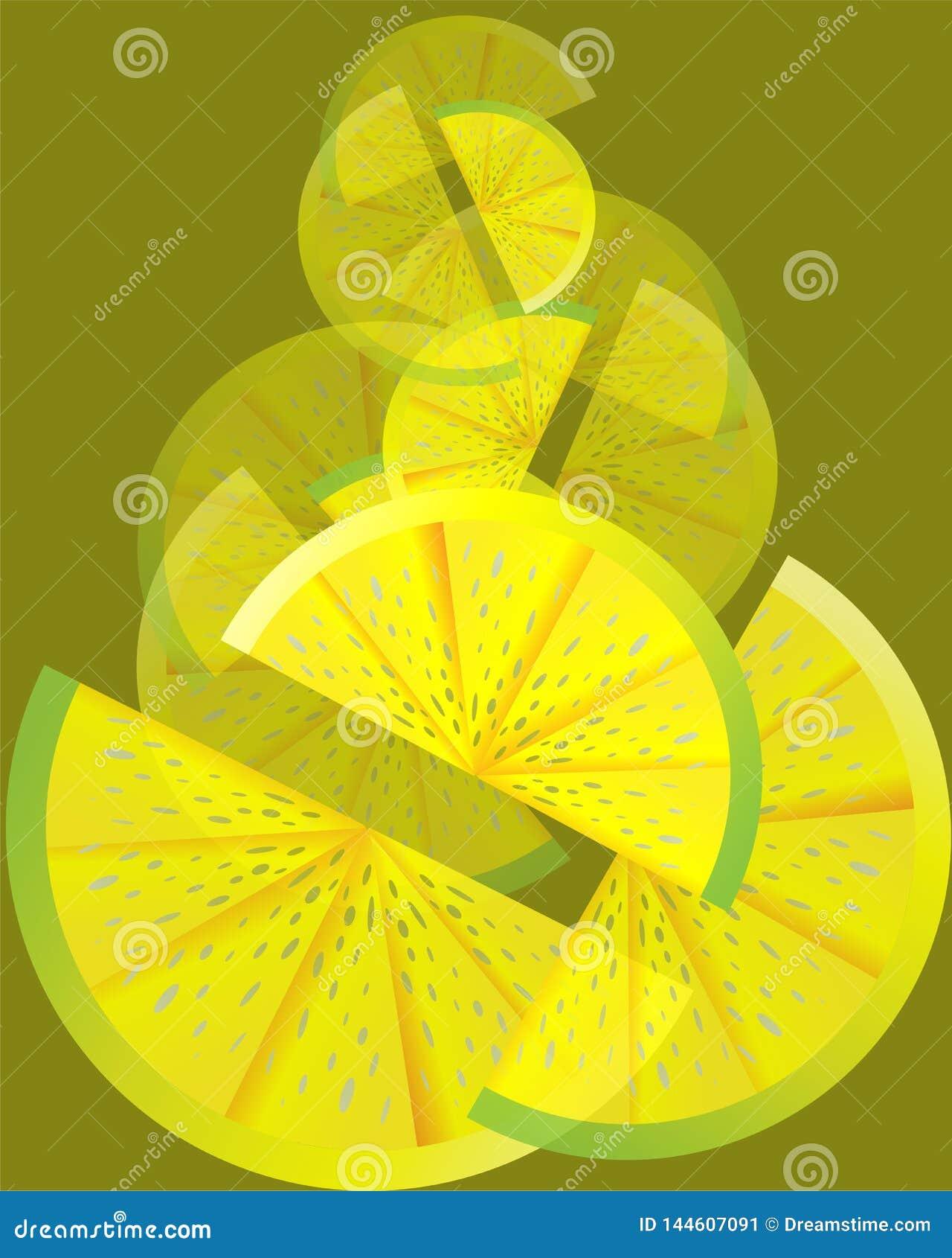 Ställ in av citronskivor på olivgrön backgroung