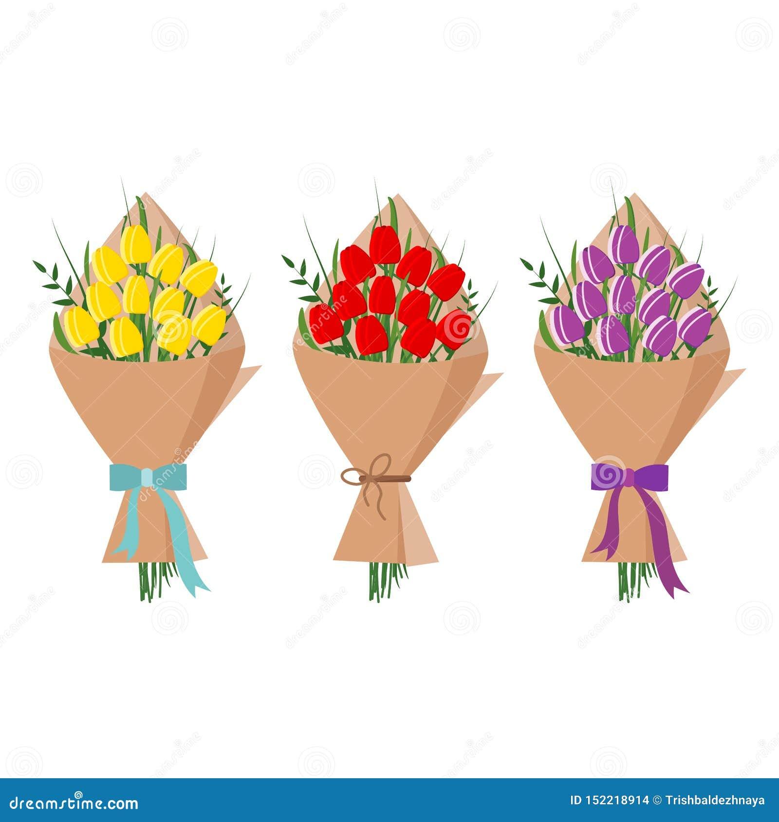 Ställ in av den härliga buketten av gula, röda purpurfärgade tulpan i att förpacka för kraft papper som isoleras på vit bakgrund,