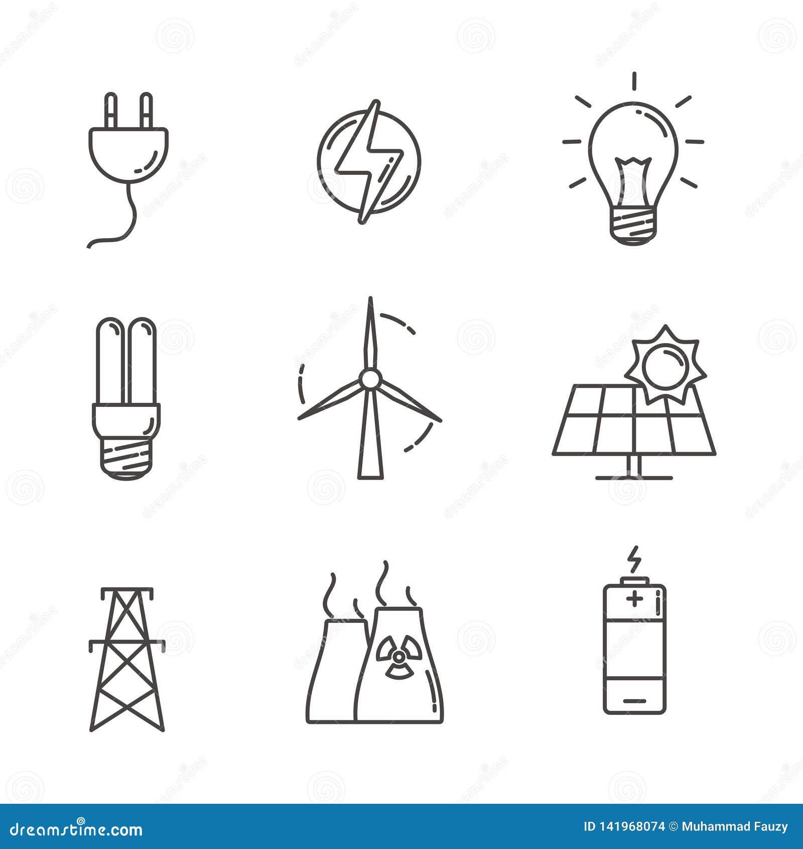 Ställ in av den släkta symbolslinjen design för elektricitet
