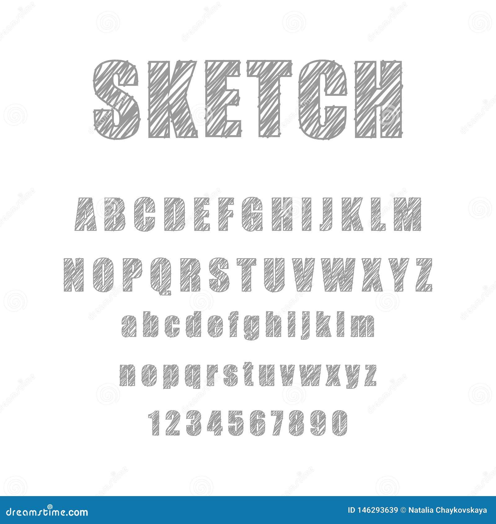 Ställ in av den utdragna alfabetbokstaven för den retro handen som drar den gråa blyertspennan på vit bakgrund