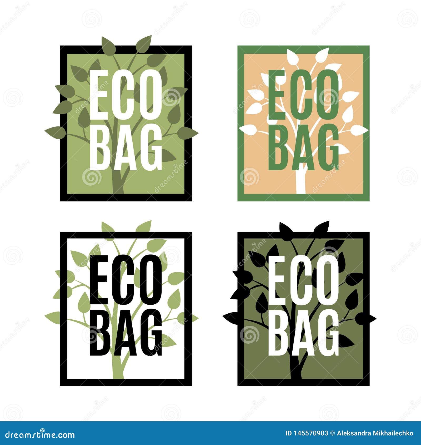 Ställ in av Eco påselogoer med trädet