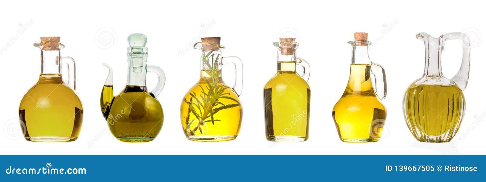 Ställ in av extra jungfruliga olivoljakrus isolerat