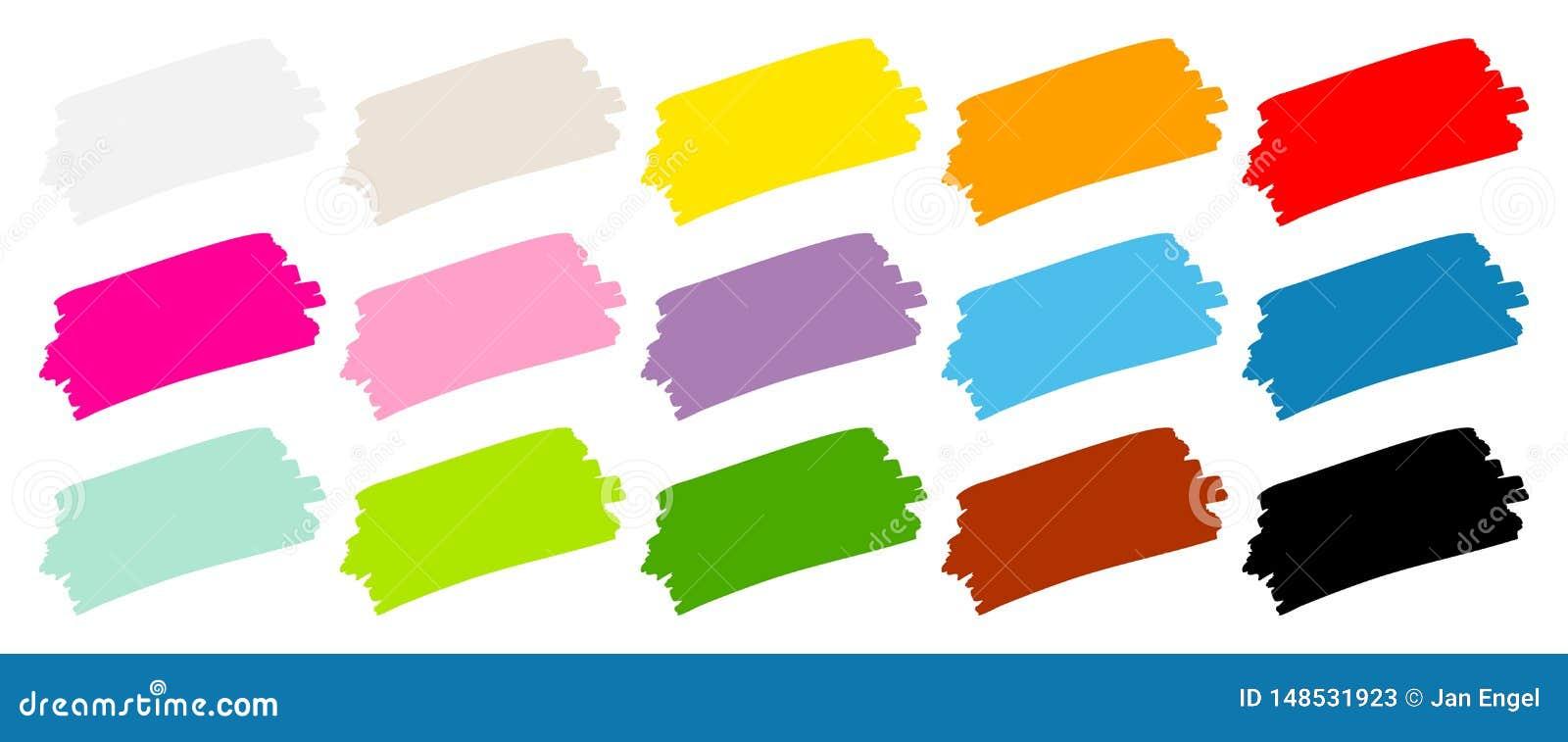 Ställ in av färg för femton penseldrag