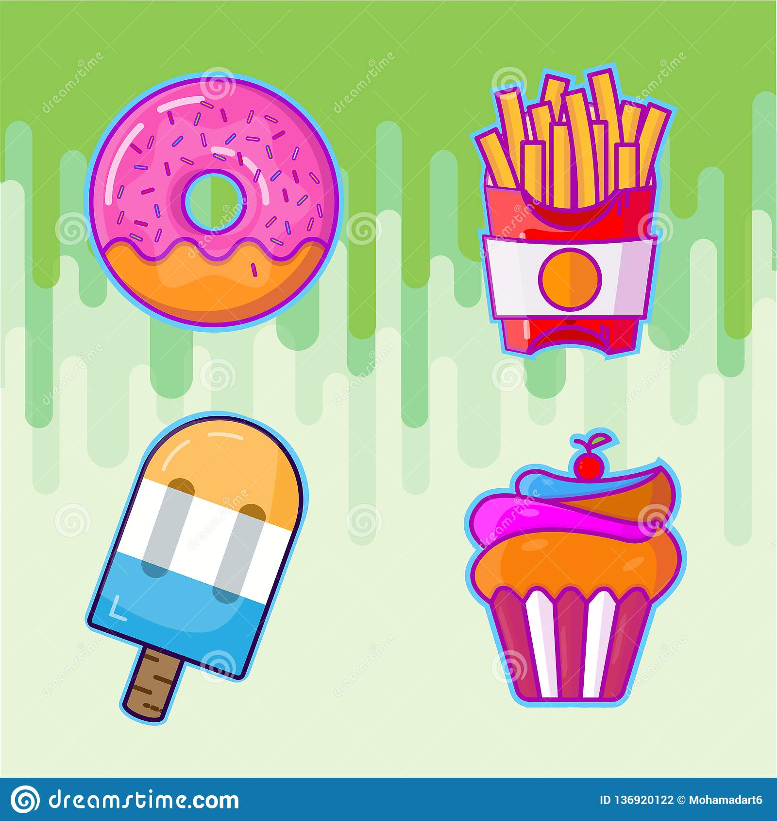 Ställ in av färgrik tecknad filmsnabbmat steker symboler Muffin isolerad vektor
