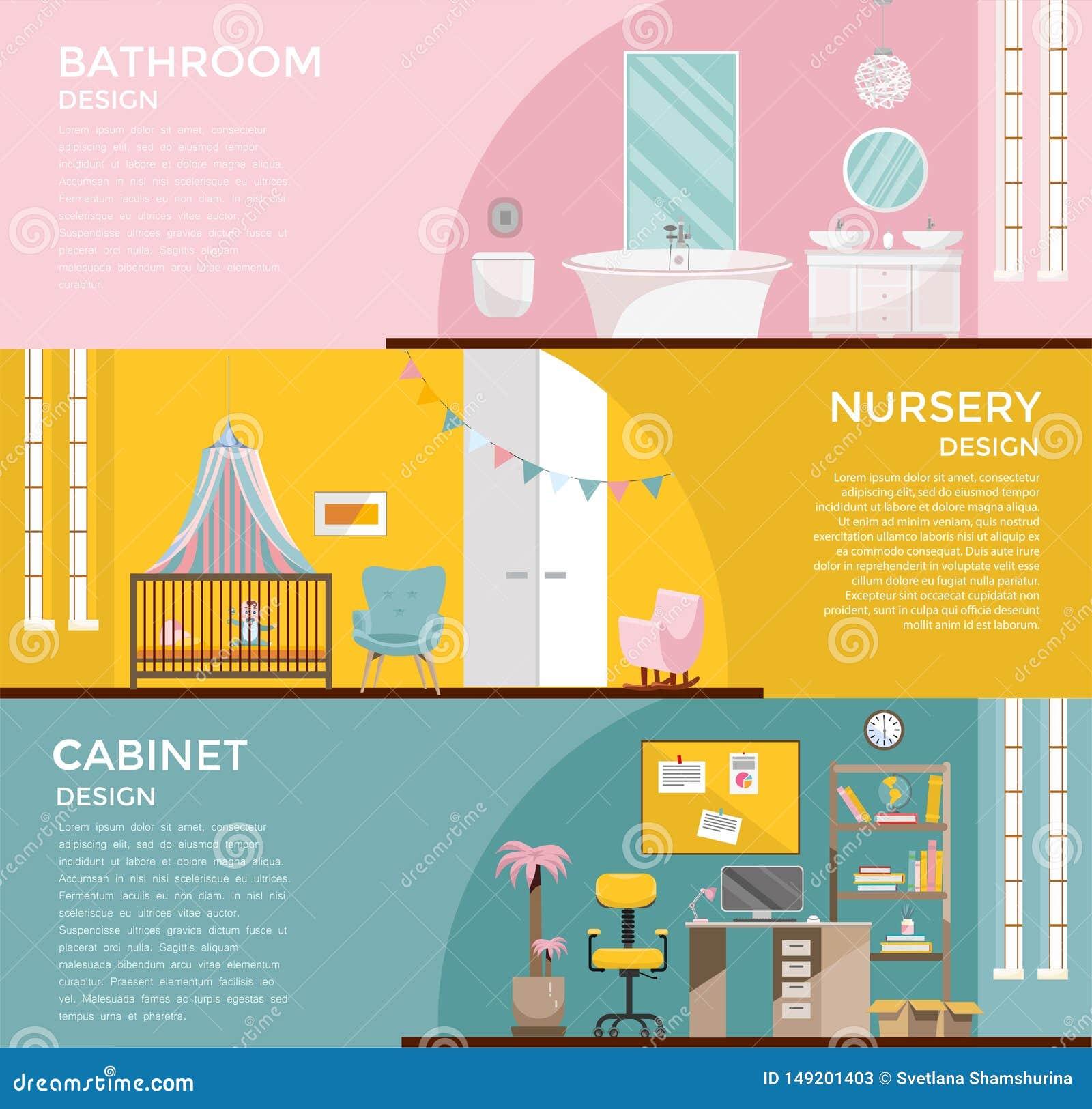 Ställ in av färgrika grafiska ruminre: badrum med toalettbarnkammaren med markisen, skåp, inrikesdepartementet med skrivbordet, a