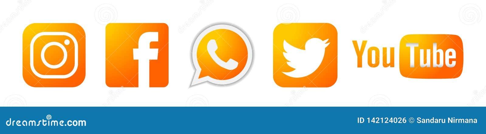 Ställ in av för den Instagram Facebook Twitter Youtube WhatsApp för populära sociala massmedialogosymboler guld- vektor beståndsd