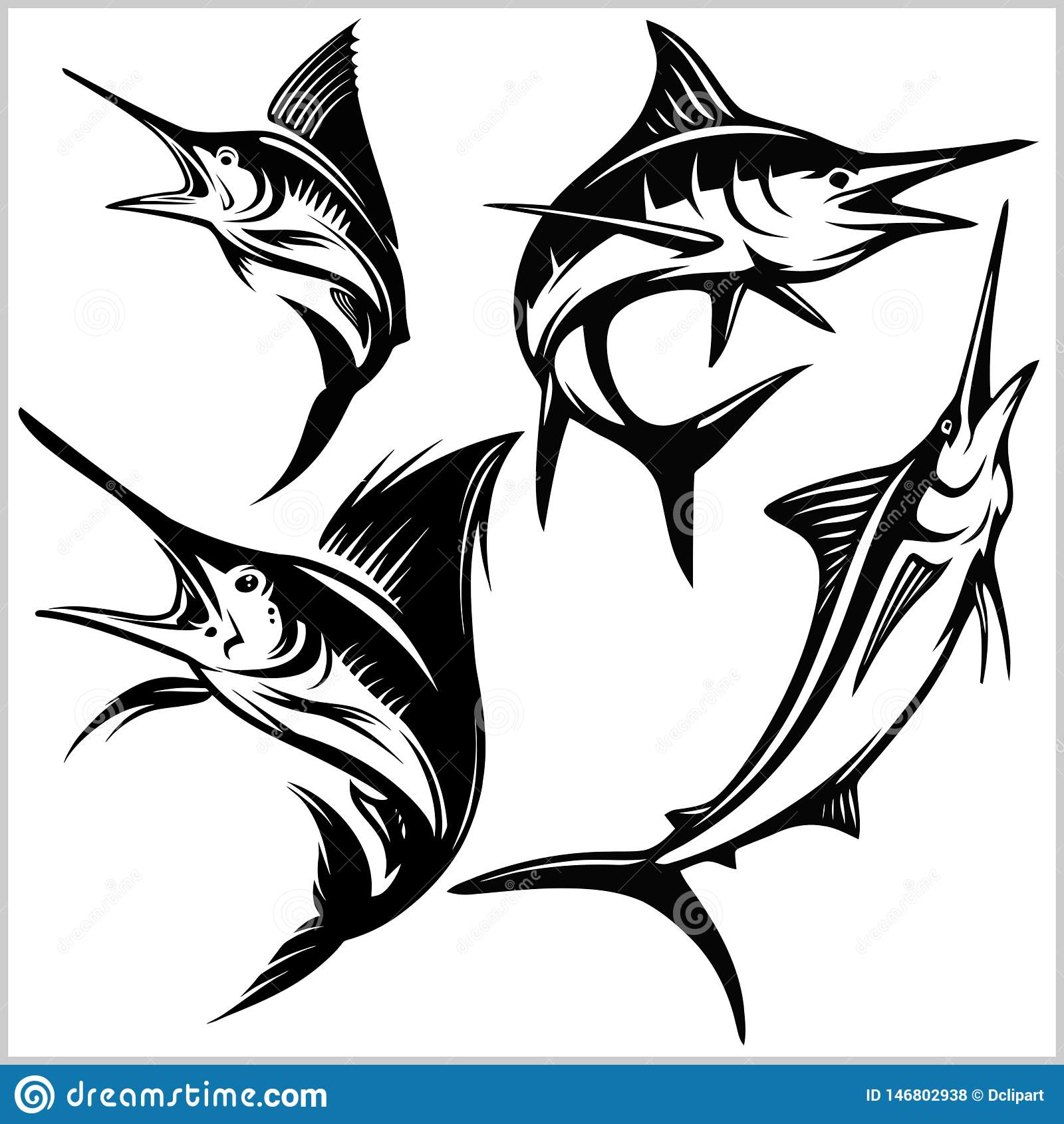Ställ in av fisk för blå marlin för vektor