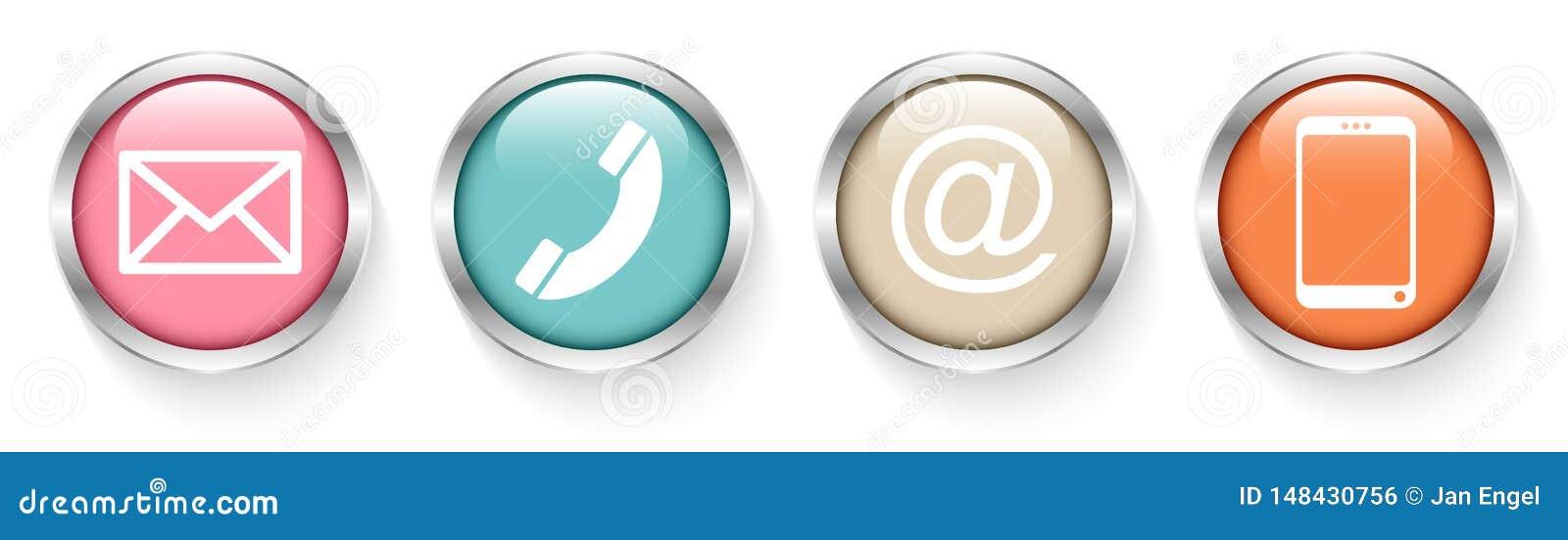Ställ in av fyra knappar kontaktar Retro silver