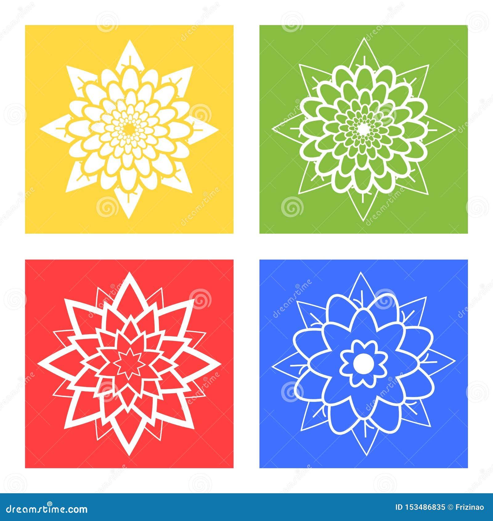 Ställ in av fyra konturer av blommor blått, grönt, gult, rött