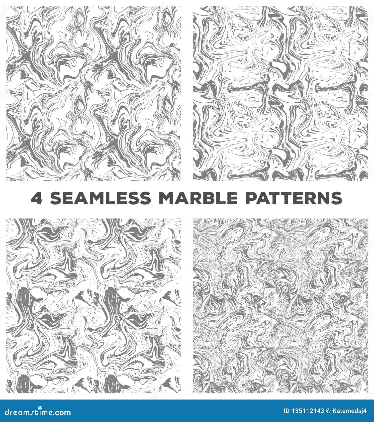 Ställ in av fyra marmorerar sömlösa modeller Ställ in av vektor marmorerar sömlösa texturer