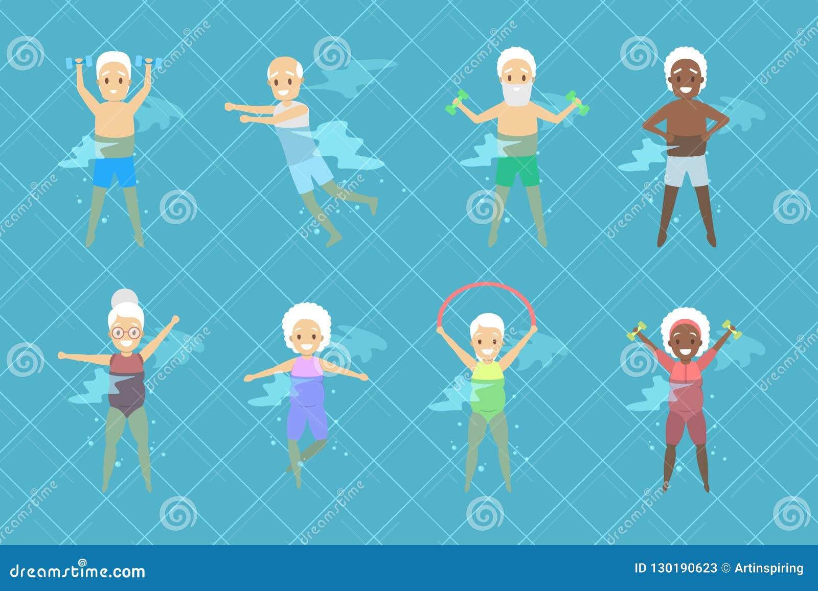 Ställ in av gamla människor som gör övning i simbassäng