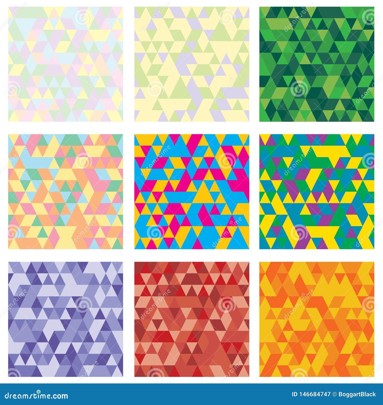 Ställ in av geometrisk modell 9 mosaik Textur med trianglar, romb Abstrakt bakgrund att användas för tapet