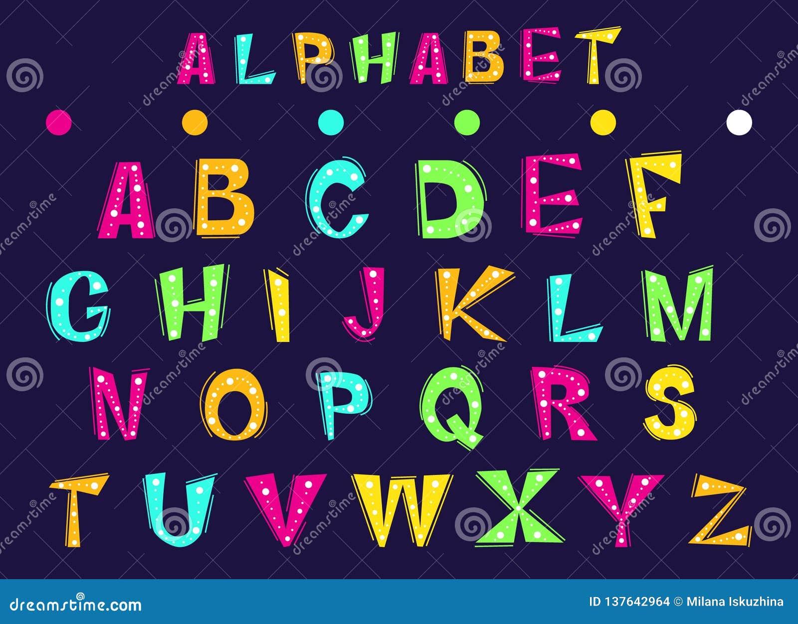 Ställ in av gladlynta bokstäver av det engelska alfabetet
