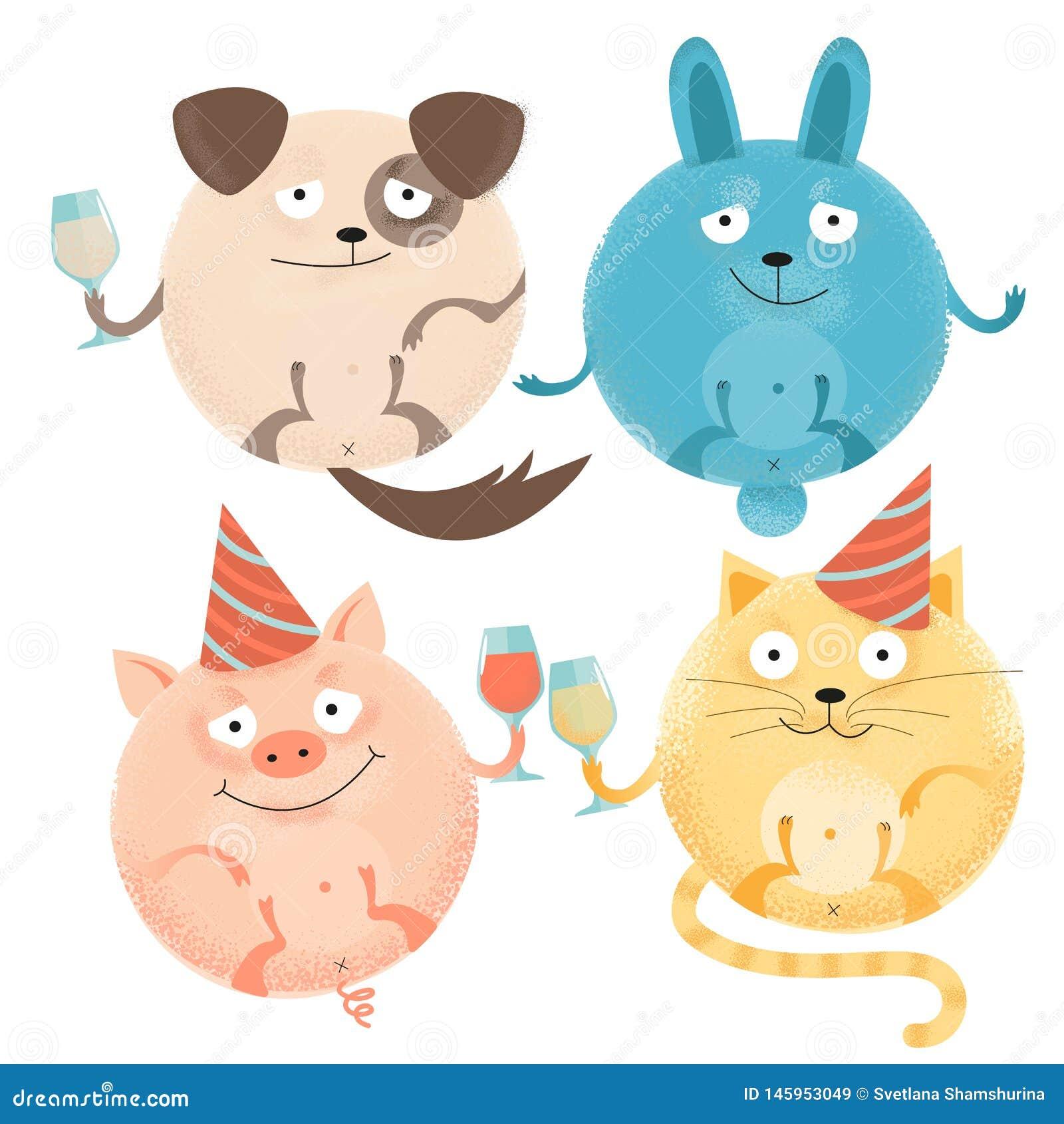Ställ in av 4 gladlynta runda djur på ferie med exponeringsglas i festliga lock Lycklig le hund, kanin, katt, svin Texturerad l?g