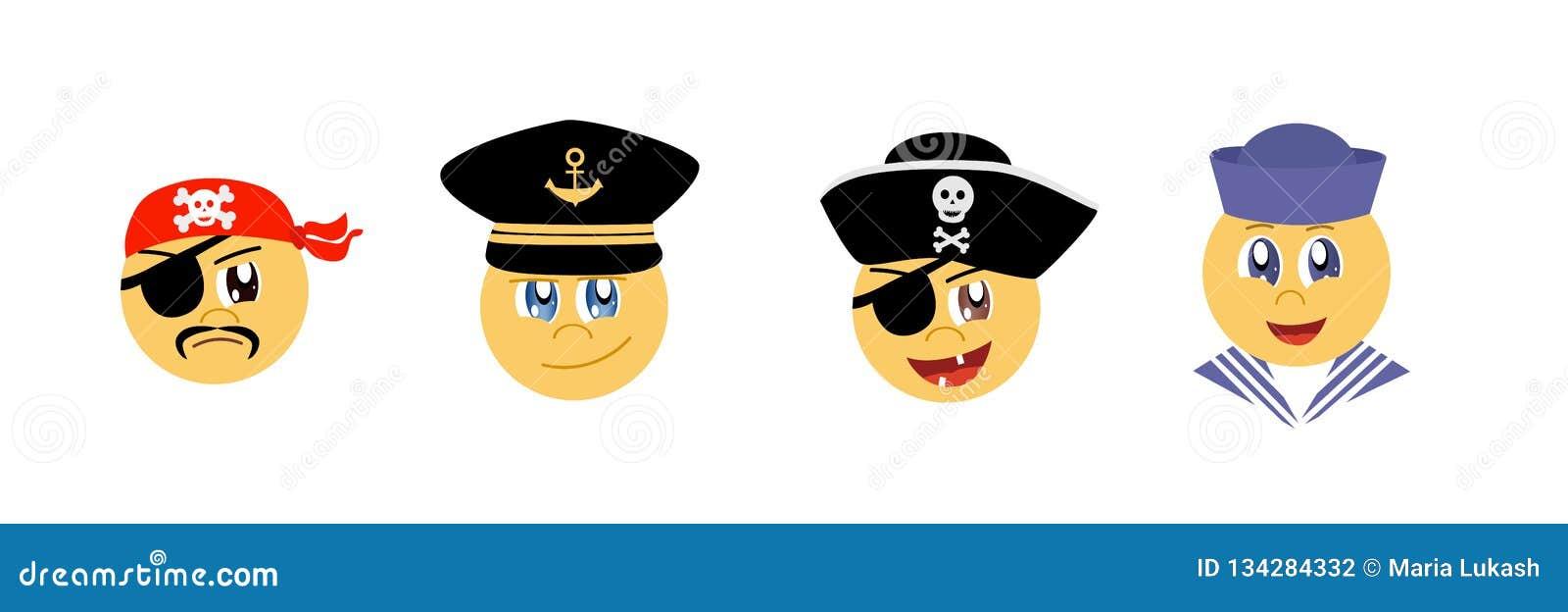 Ställ in av grafiska Emoticons - havstema Samling av emoji Leendesymboler