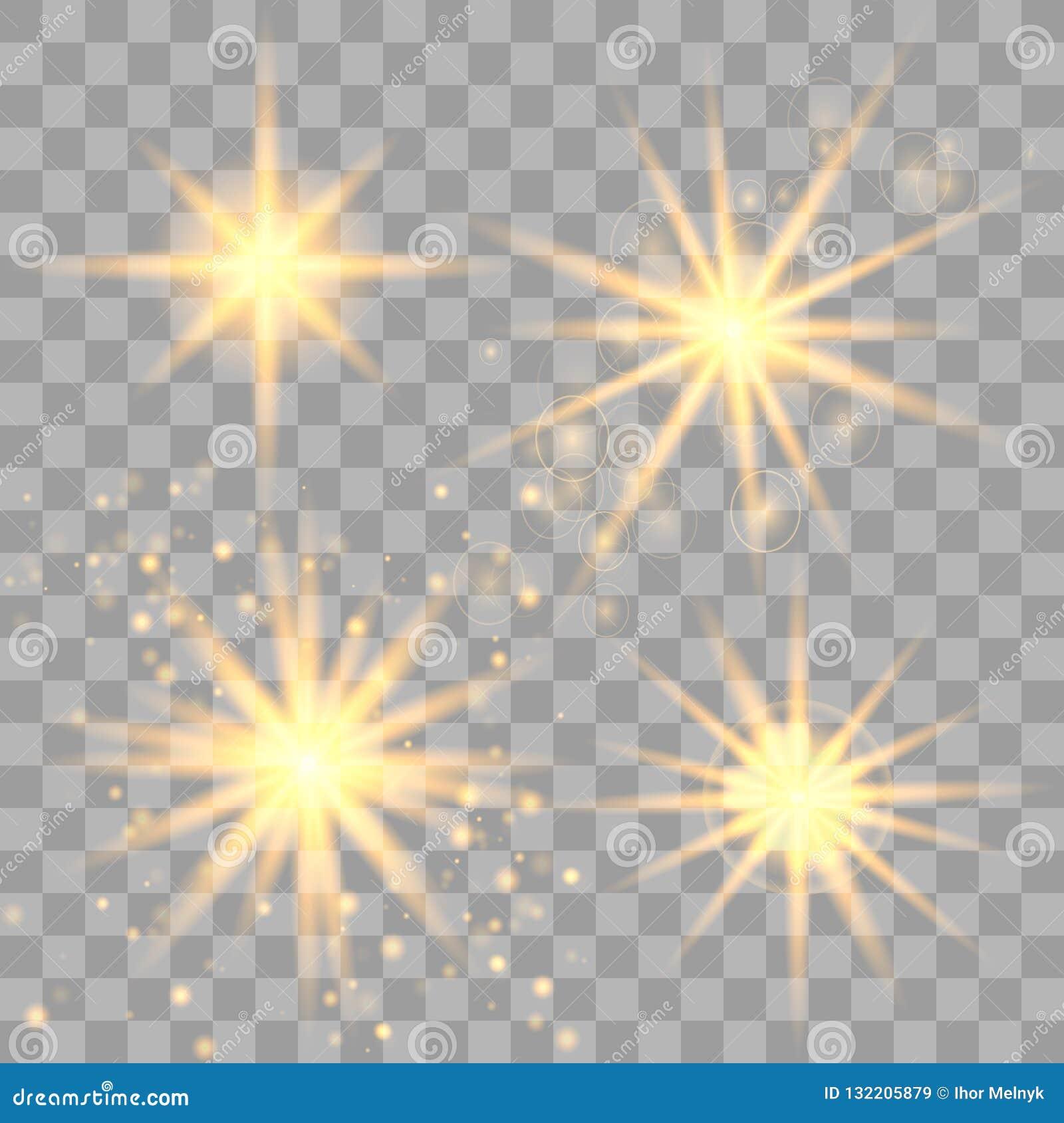 Ställ in av guld- glödande ljus