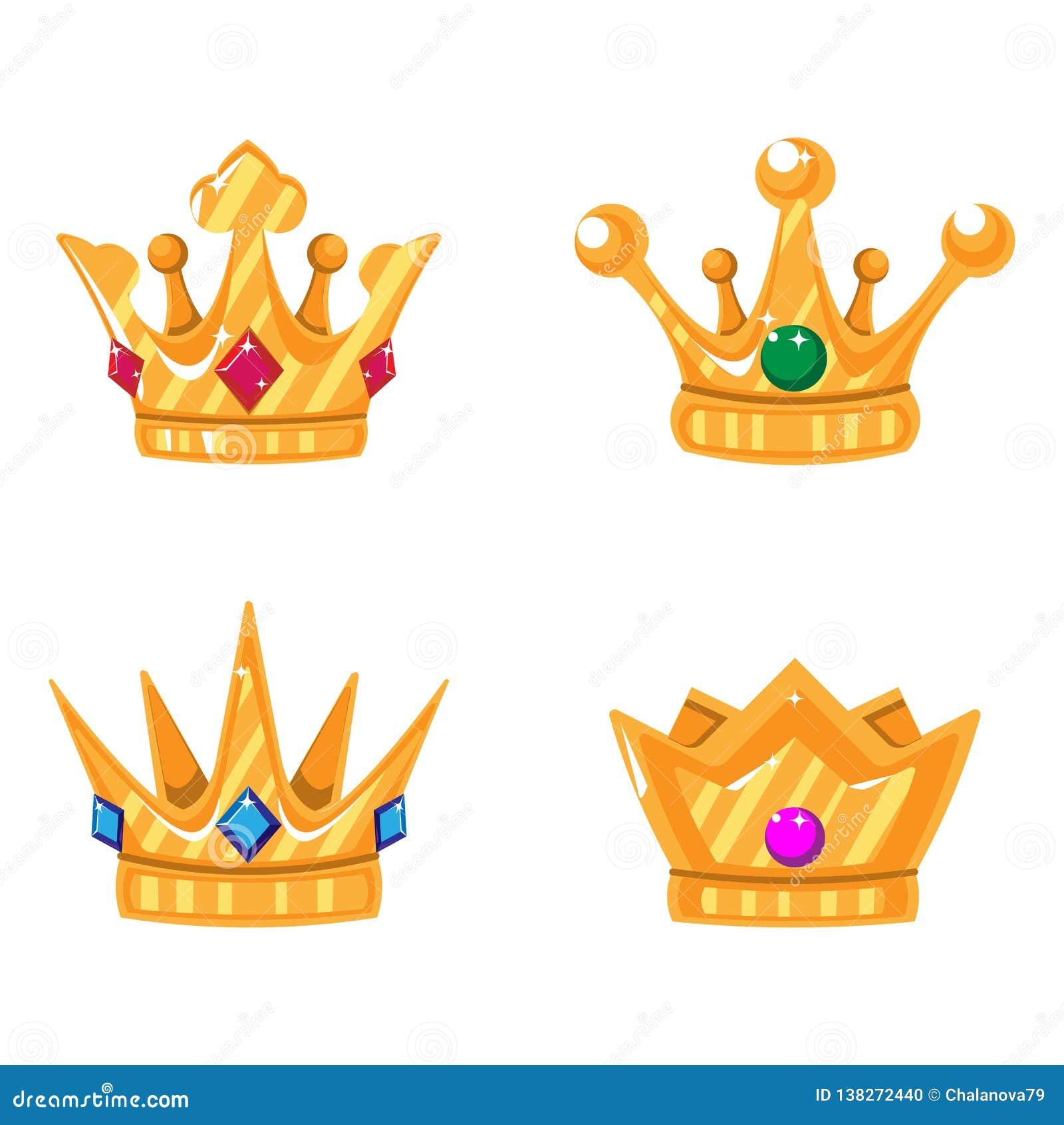 Ställ in av guld- kronasymboler med ädelstenar Vektor isolerade beståndsdelar för logoen, etikett, lek, hotell, en app-design