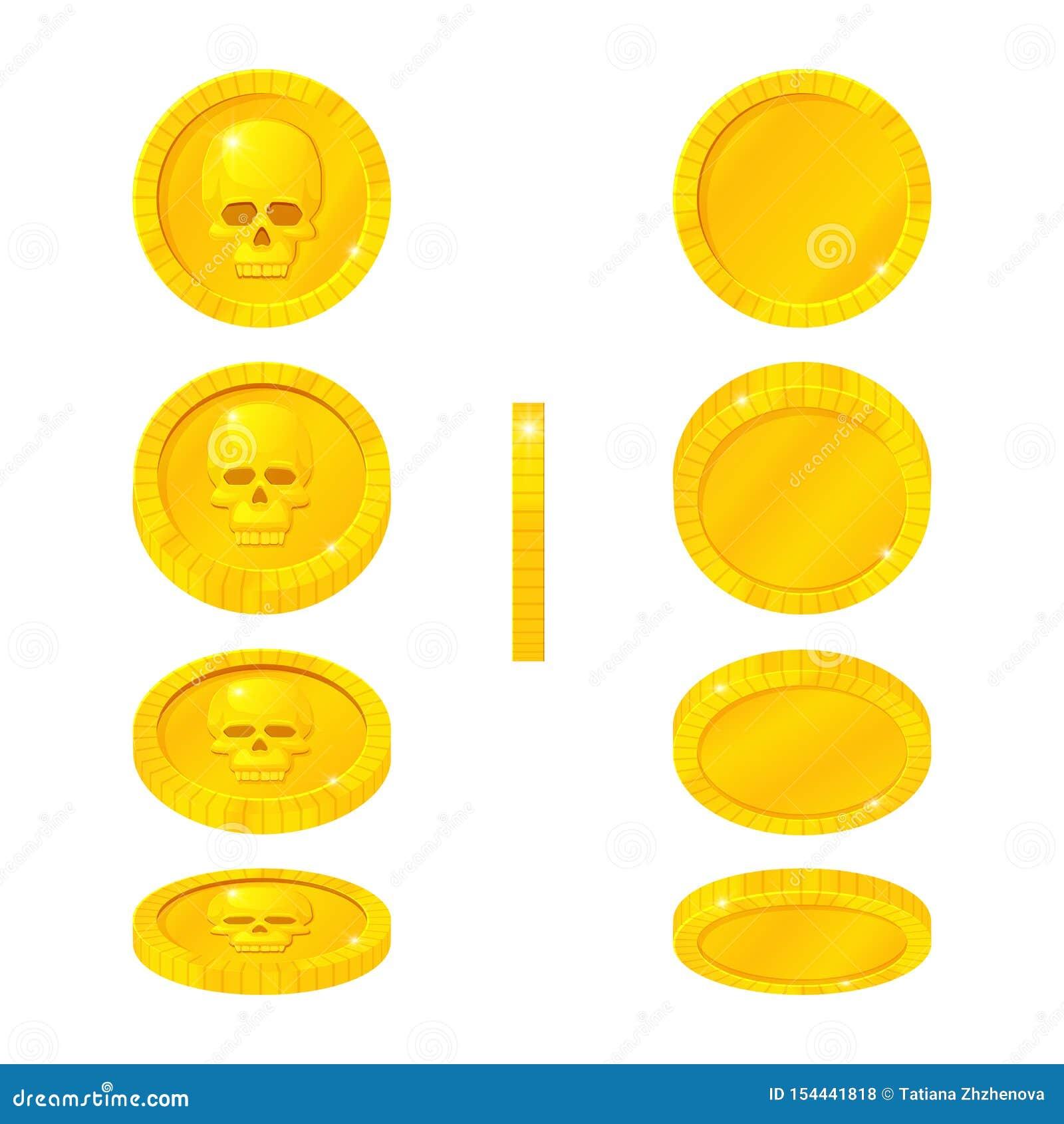 Ställ in av guld- mynt med den mänskliga skallen i olika positioner Vektortecknad filmsymboler Rotera flyg som faller