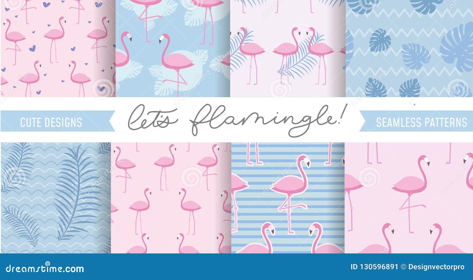 Ställ in av gullig flamingo och tropiska modeller Sömlös modelldes