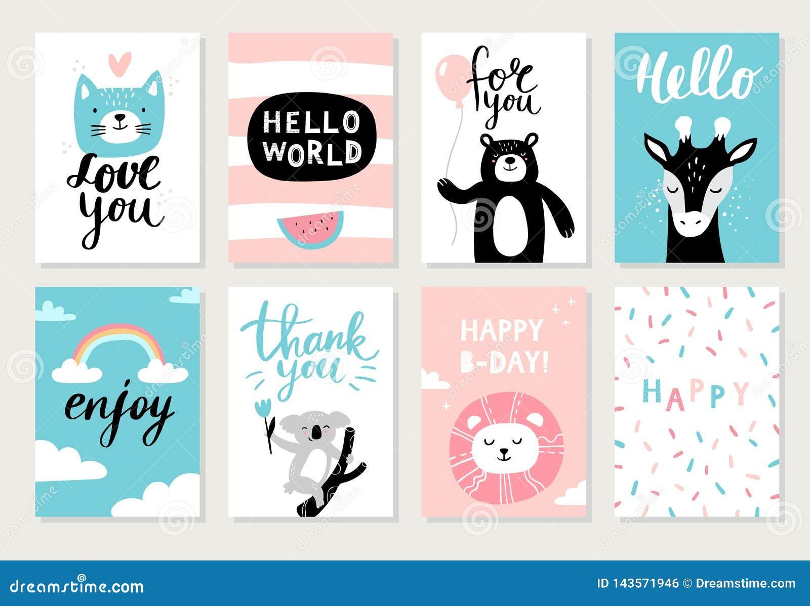 Ställ in av gulliga hand-drog djur på vykort: katt, björn, giraff, koala, lejon och olik beståndsdel