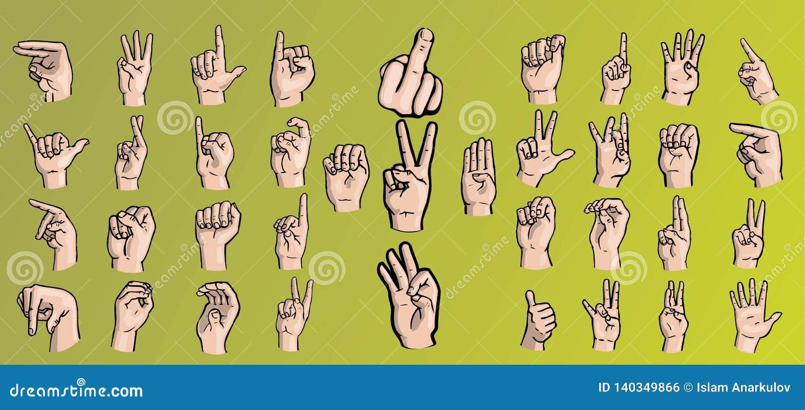 Ställ in av händer i en variation av gester
