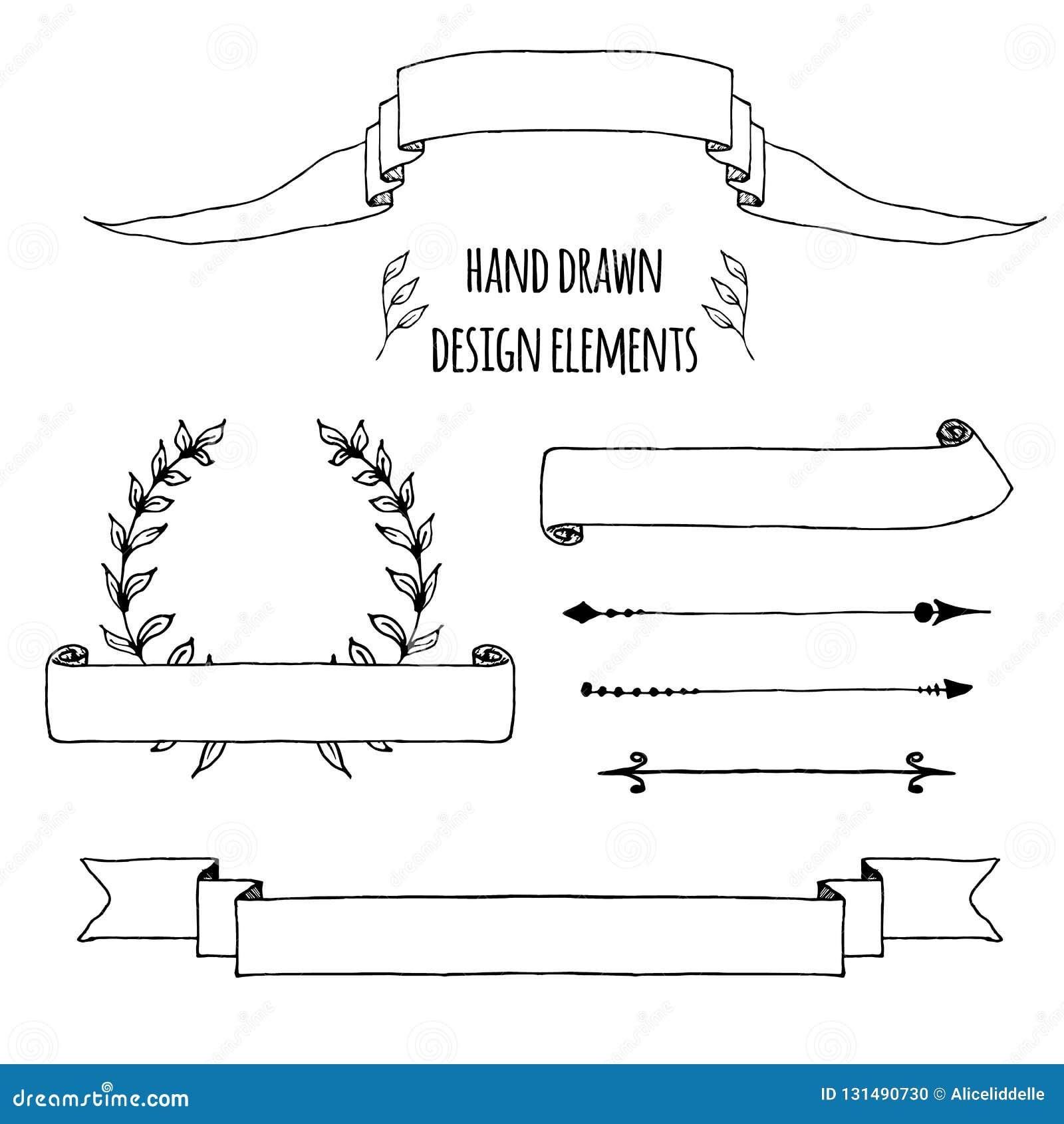 Ställ in av handdrawn tappningbeståndsdelar Band pilar, lagerkrans, sidadeviders Utdraget skissat för hand, vektor