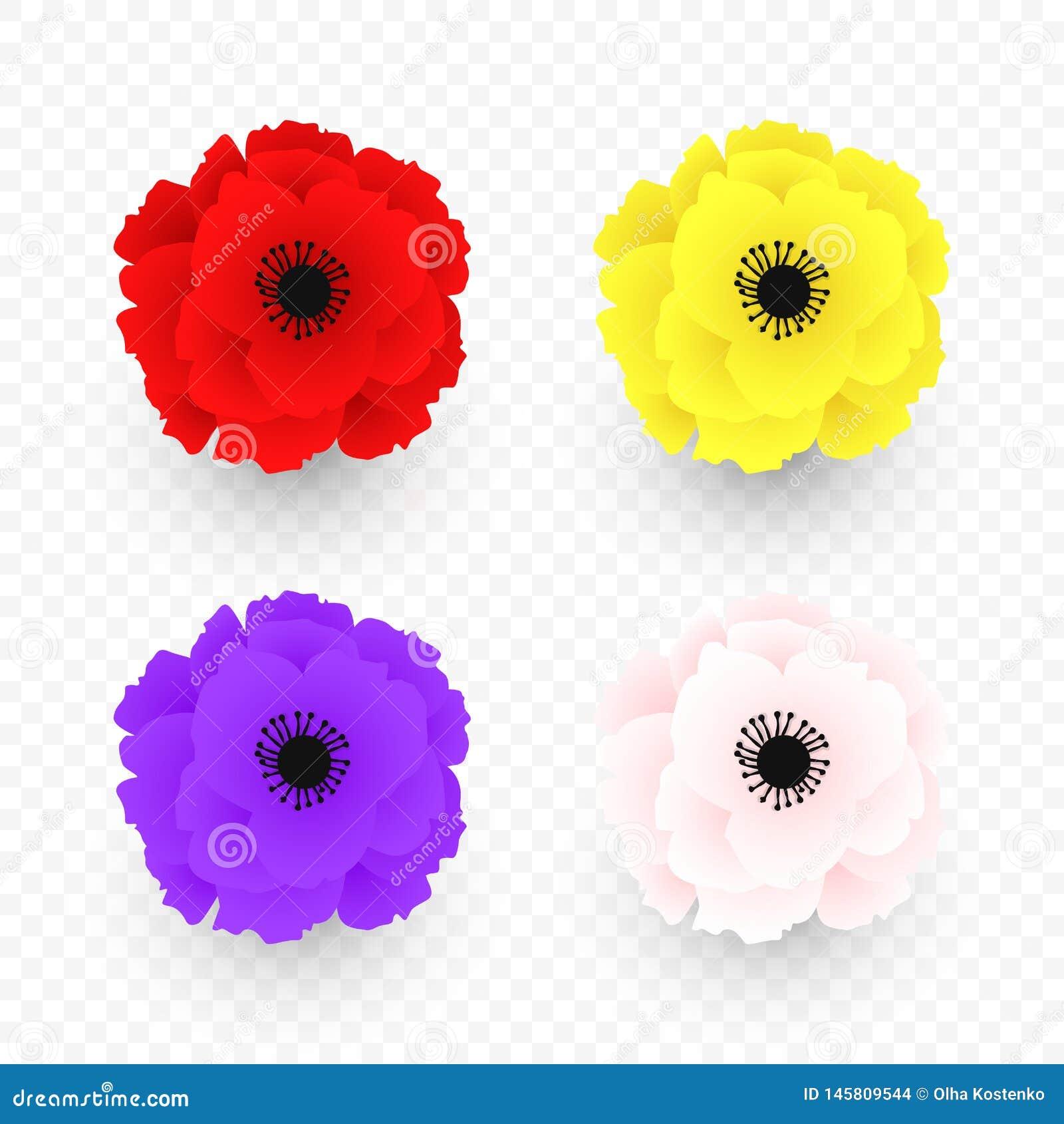 Ställ in av isolerad röd, gul, rosa purpurfärgad vallmosymbol Symbol av världskriget i modern stil Symbol av den brittiska minned