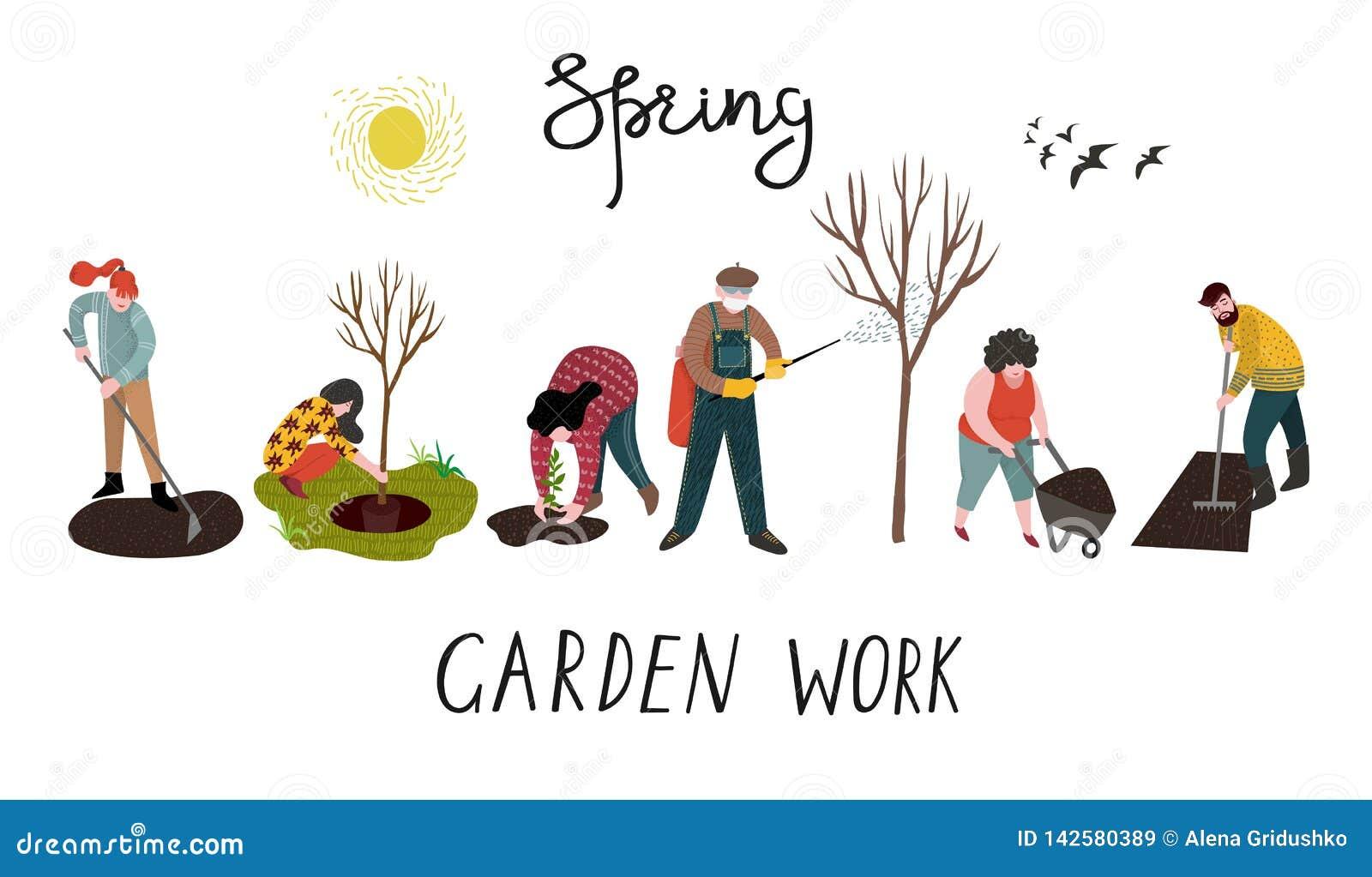 Ställ in av isolerat folk som arbetar i trädgården över att plantera, framkallning av landet och behandling av träd från plågor v