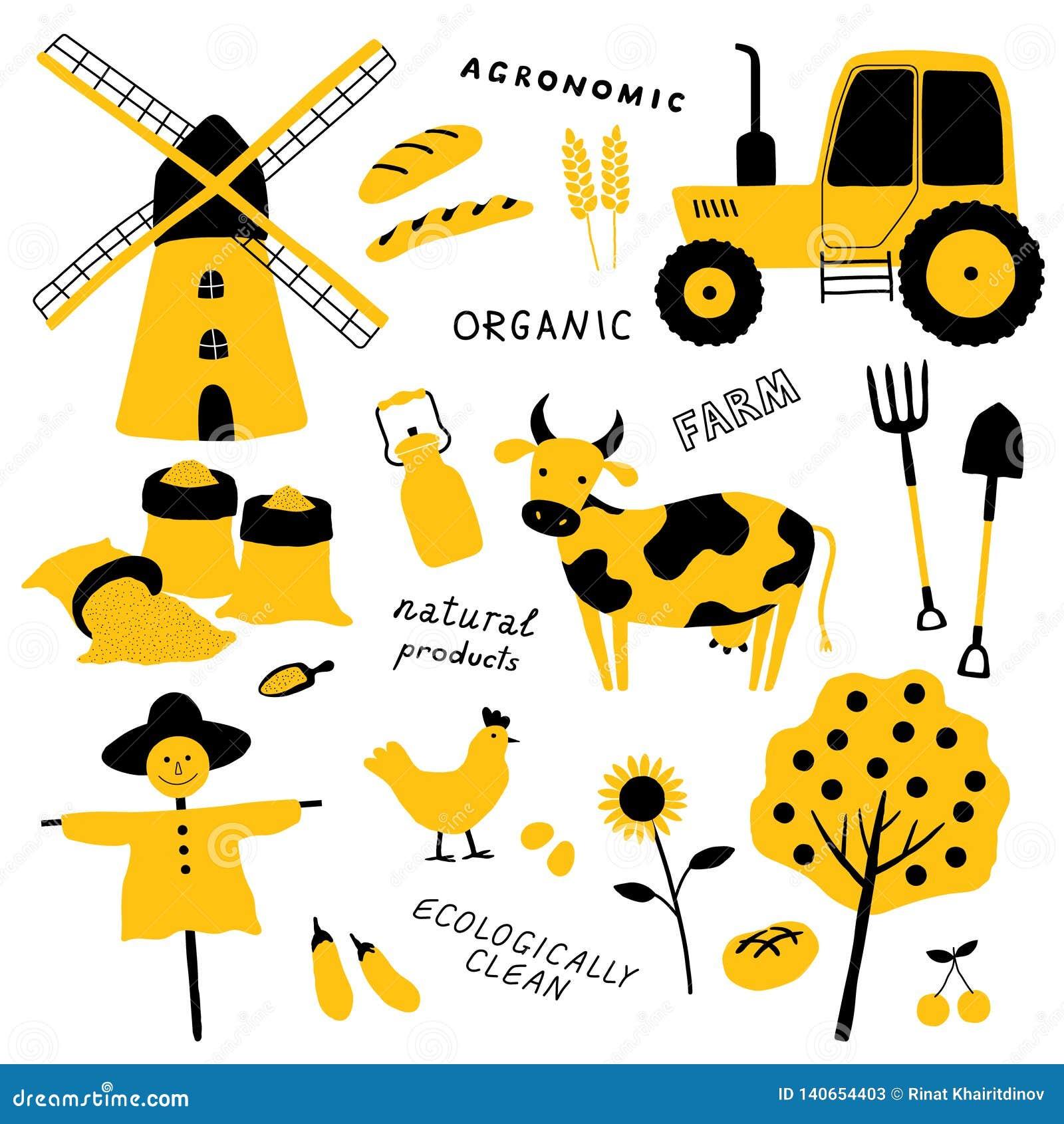 Ställ in av jordbruks- och lantgårdhjälpmedel, djur, växter och maskineri Tecknad filmkon, höna, traktoren, fågelskrämma, maler,