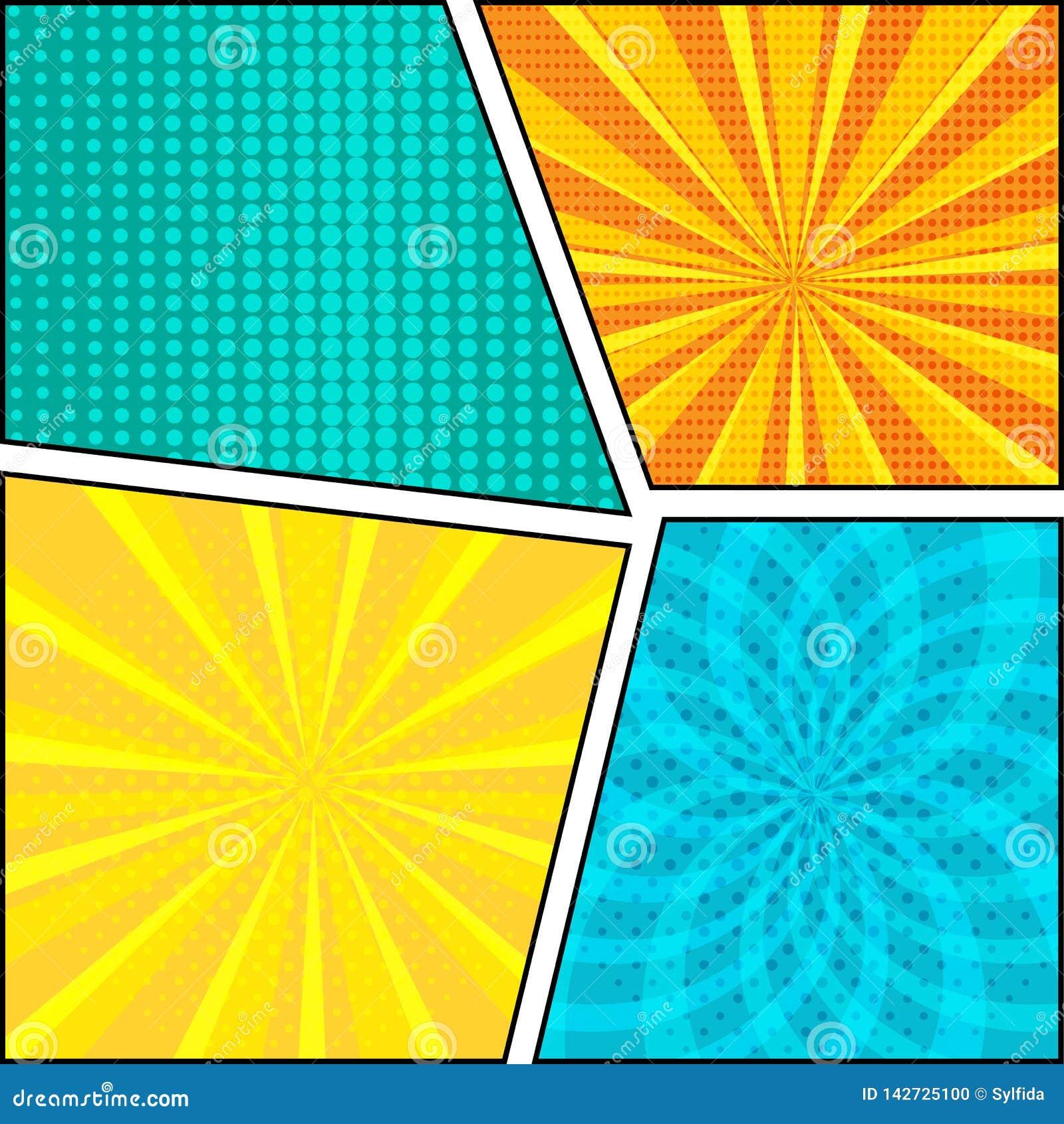 Ställ in av komisk bakgrund i stil för popkonst också vektor för coreldrawillustration