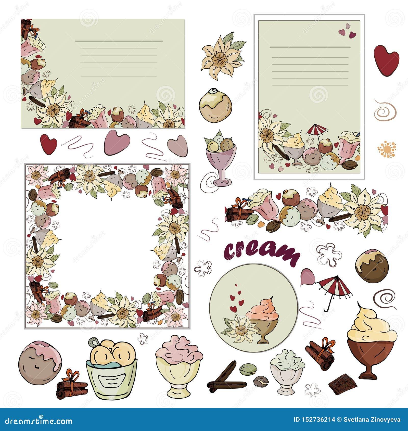Ställ in av kort, den sömlösa borsten, isolerade bilder av glass, choklad, vanilj, kanel på en vit bakgrund