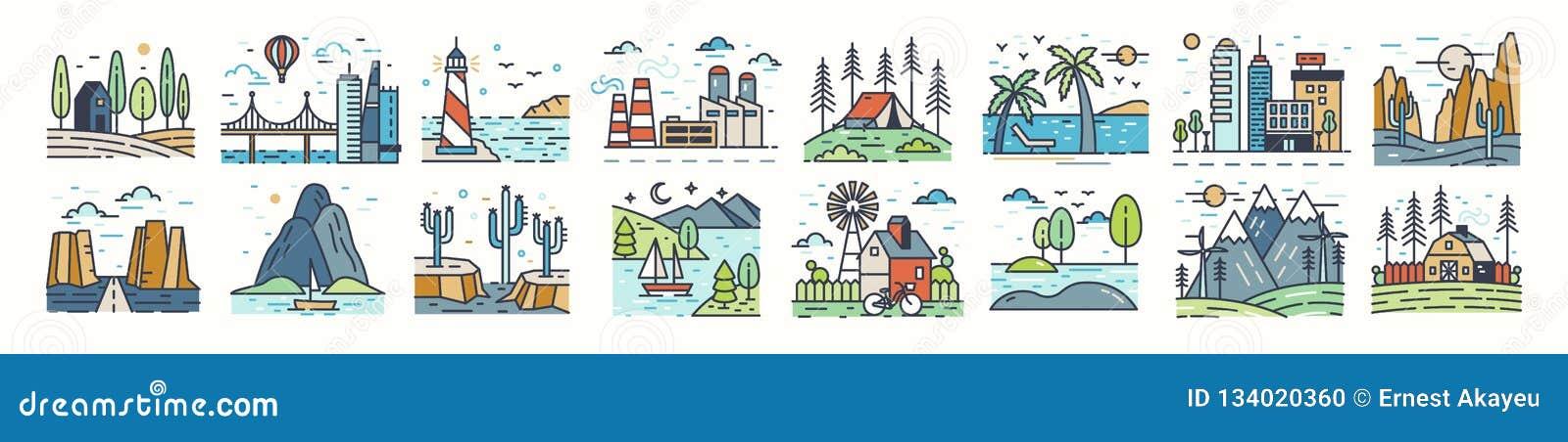 Ställ in av landskapsymboler eller symboler Samling av härliga naturliga landskap - strand, skogläger, bygd, öken
