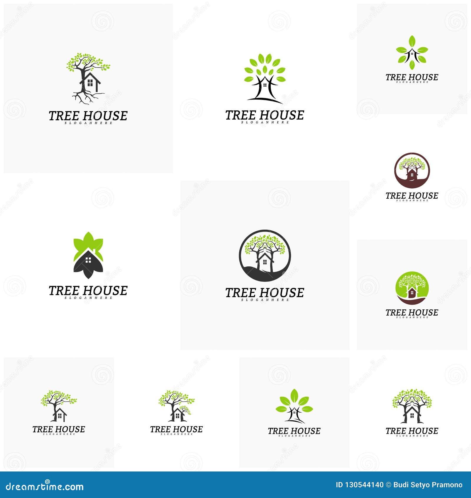 Ställ in av mall för vektor för logo för trädhus Bladhuslogo