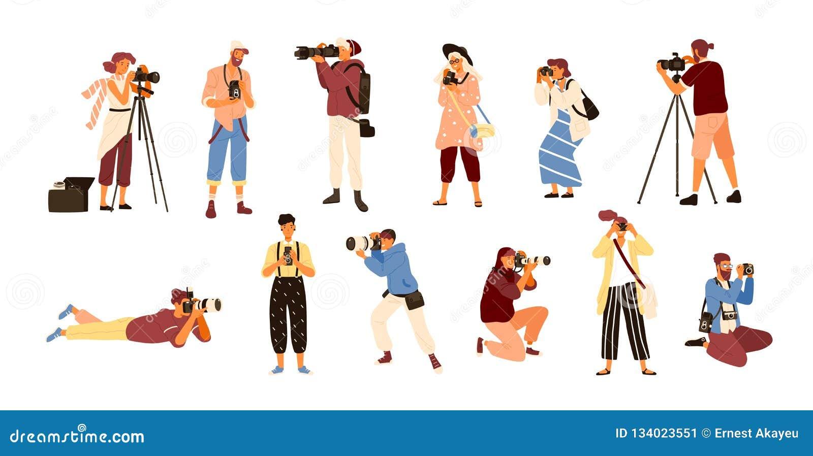 Ställ in av olika fotografer som rymmer kameran och att fotografera för foto Idérikt yrke eller ockupation Gullig kvinnlig och