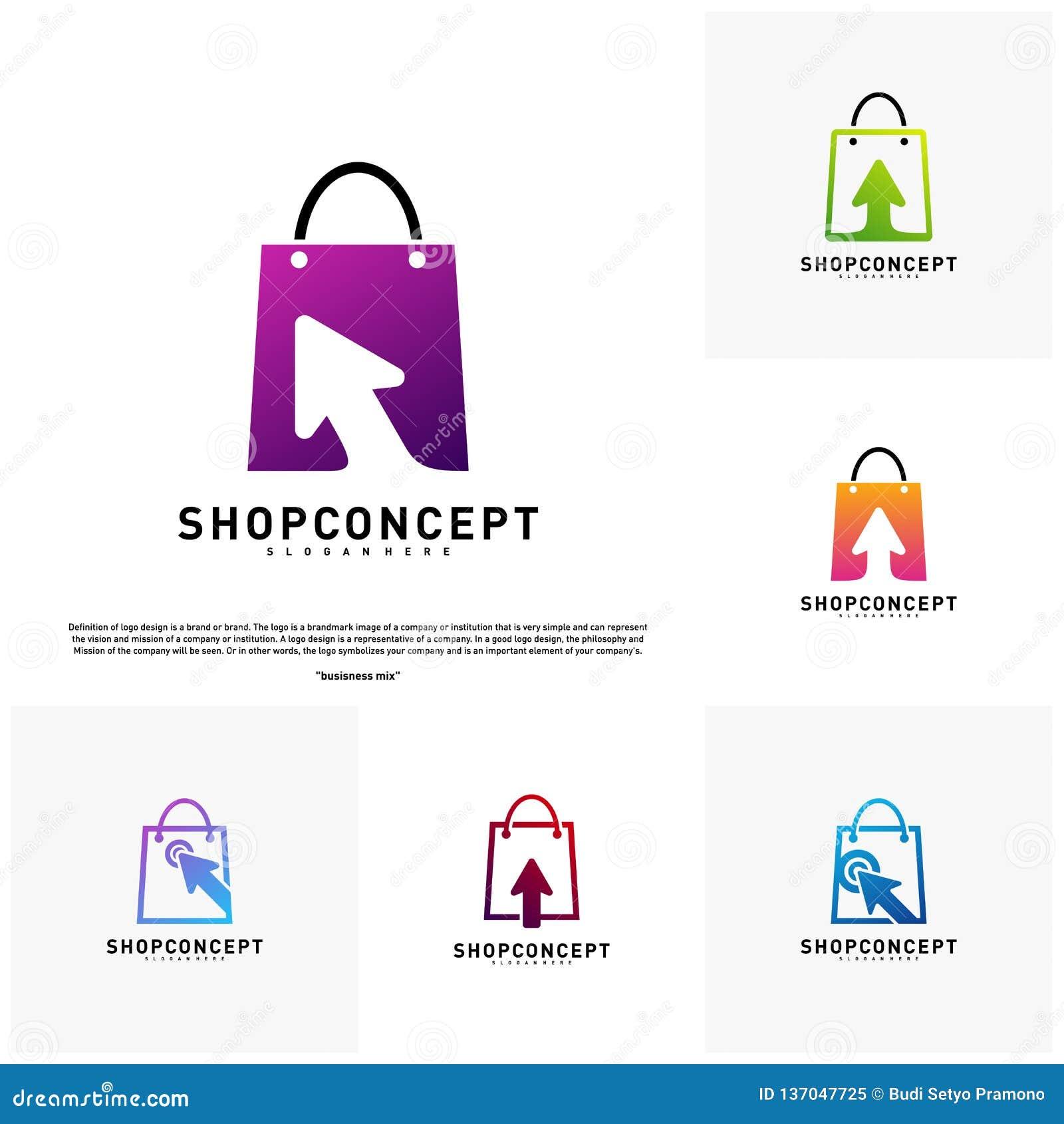 Ställ in av online- shoppar Logo Design Concept Online-köpcentrumlogo Online-lager- och gåvasymbol