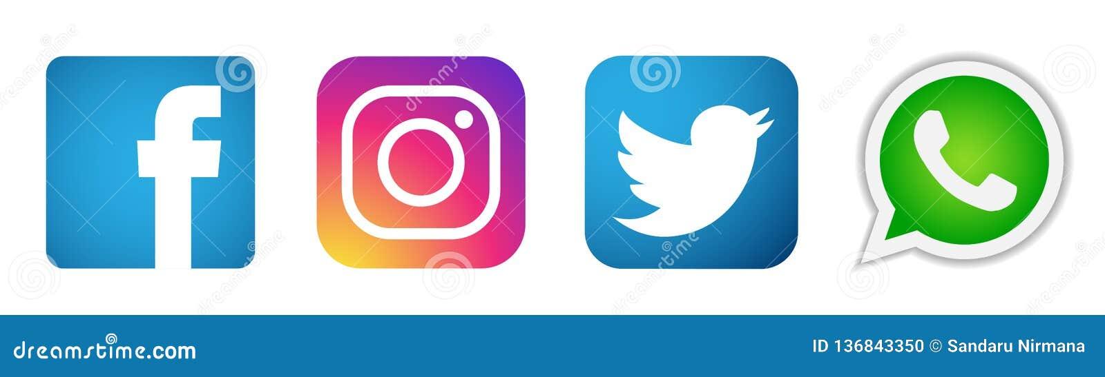 Ställ in av populär social för den Instagram Facebook Twitter WhatsApp för massmedialogosymboler vektor beståndsdelen på vit bakg