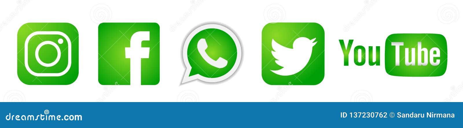 Ställ in av populära sociala massmedialogosymboler i grön Instagram Facebook Twitter Youtube WhatsApp beståndsdelvektor på vit ba