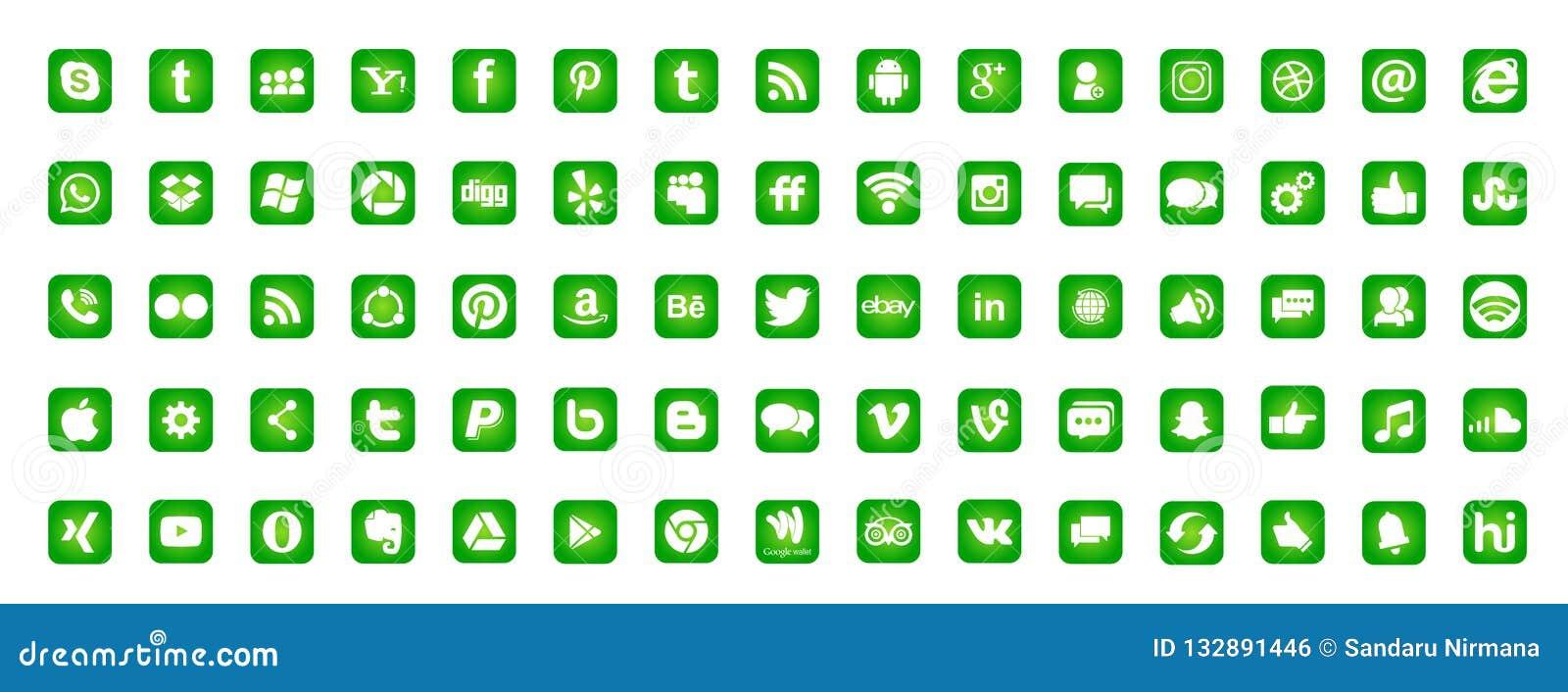 Ställ in av populära sociala massmedialogosymboler Instagram Facebook Twitter Youtube WhatsApp LinkedIn Pinterest Blogd på vit ba