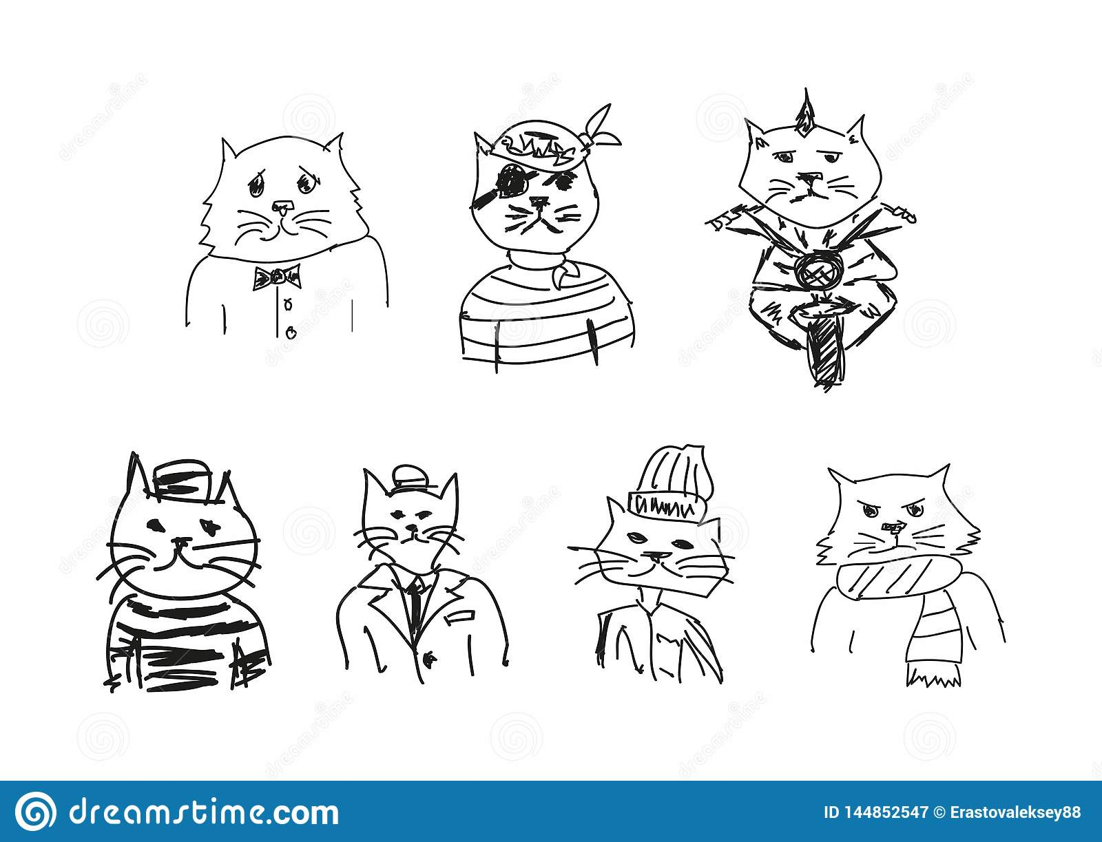 St?ll in av roligt skissar av katter Efterf?ljd av barns teckningar Klottra, knapph?ndigt ocks? vektor f?r coreldrawillustration