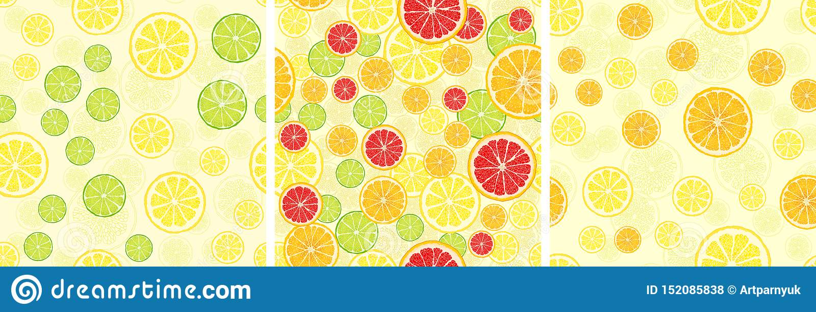 Ställ in av sömlös modell för vektor med fruktskivor