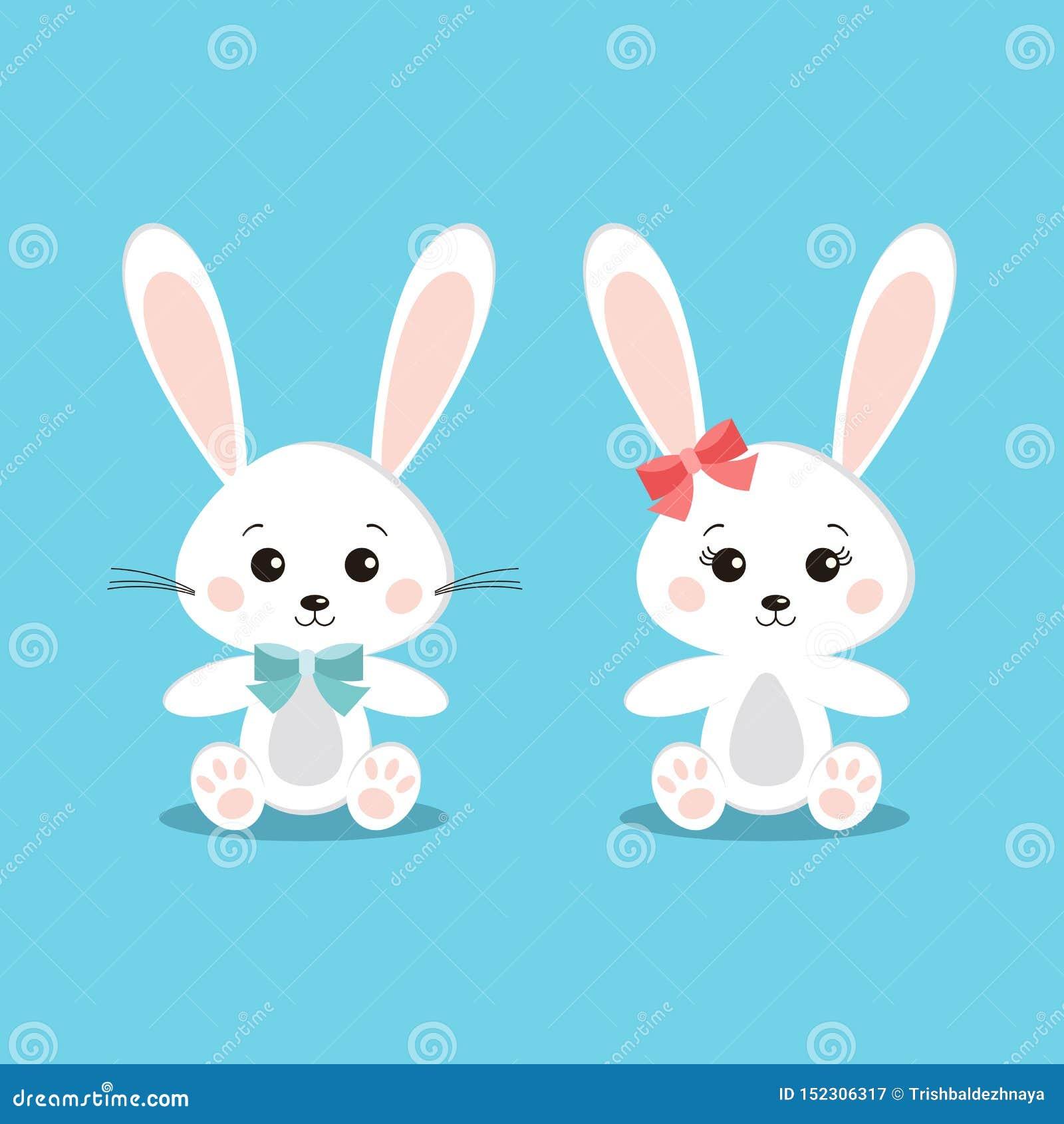 Ställ in av söta och gulliga vita kaninkaniner pojke och flicka