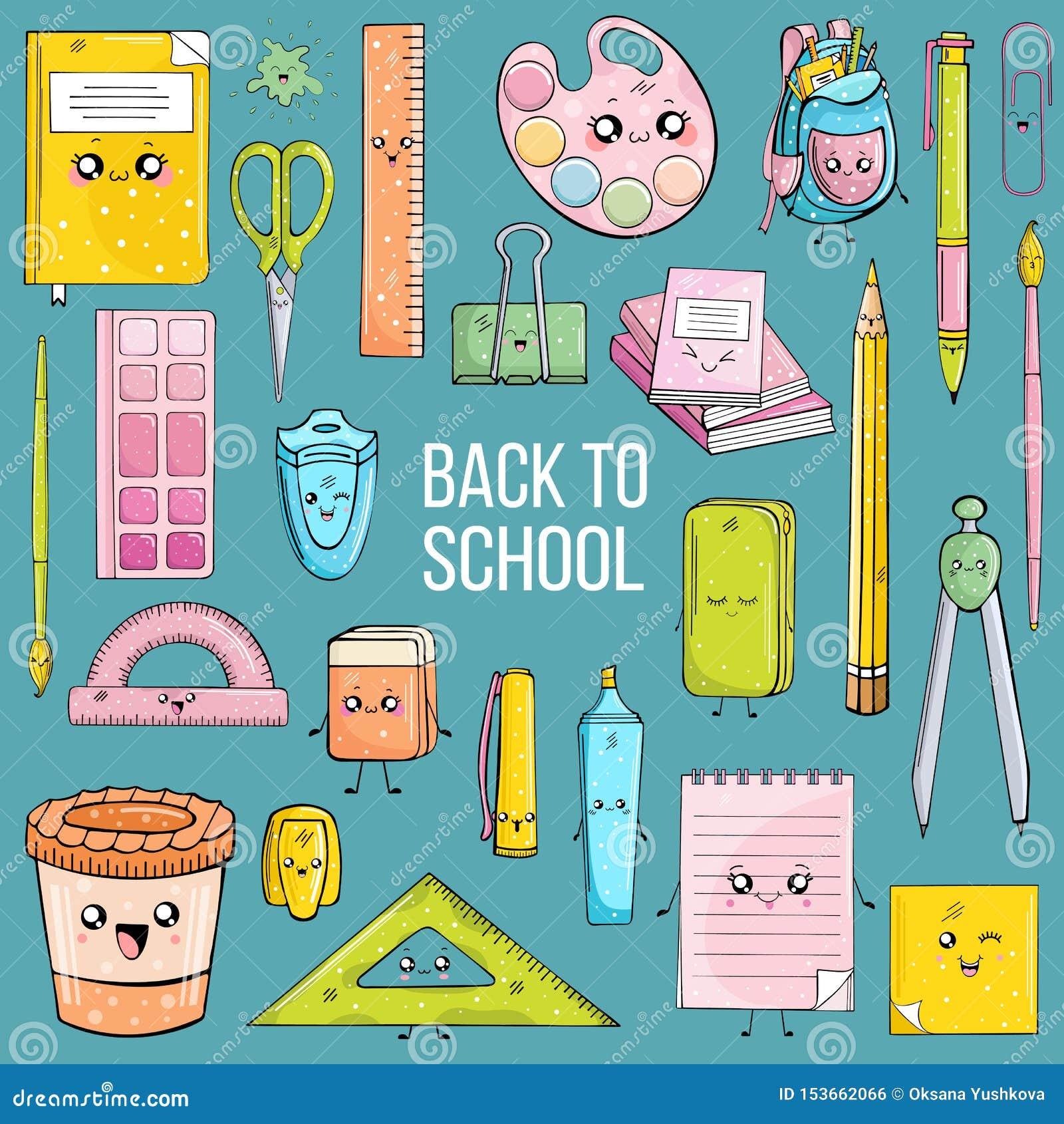 Ställ in av skolatillförsel i kawaistil på blå bakgrund