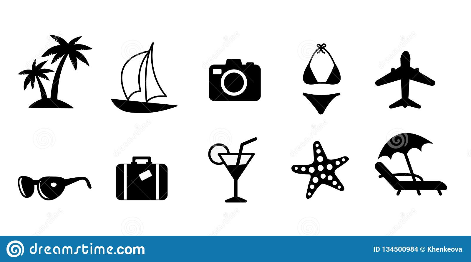 Ställ in av svarta plana lopp- och semestervektorsymboler Palmträd seglingskepp, kamera, bikinibaddräkt, nivå, solglasögon