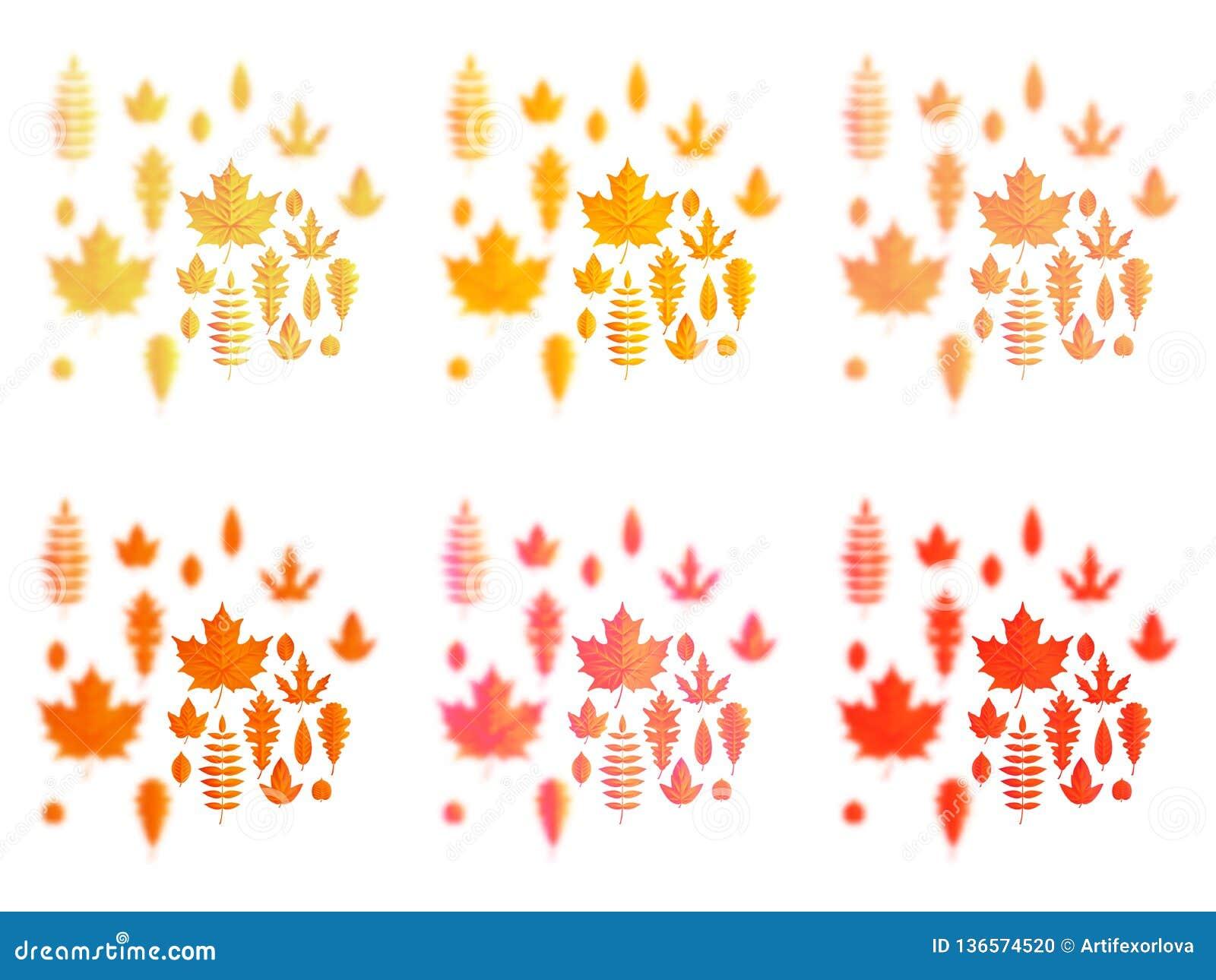 Ställ in av symboler för höstsidor eller för nedgånglövverk Lönn, ek eller björk och rönnblad Fallande poppel, bokträd eller alm