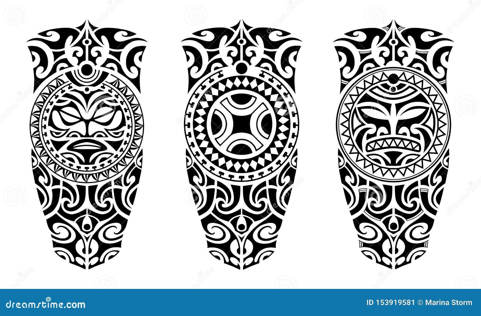 Ställ in av tatuering skissar maori stil