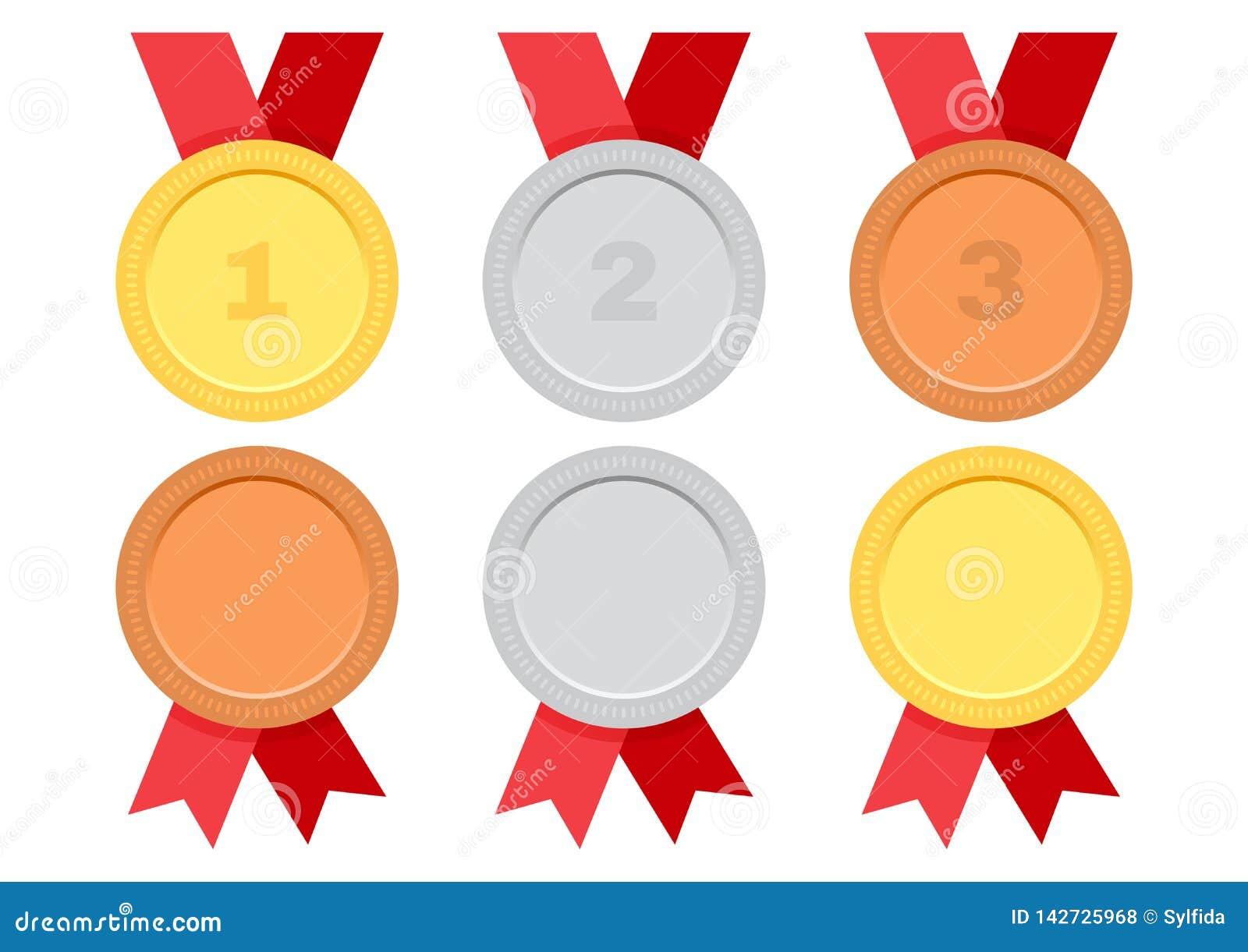 Ställ in av utmärkelsemedaljer med det röda bandet Guld, silver och brons vektor