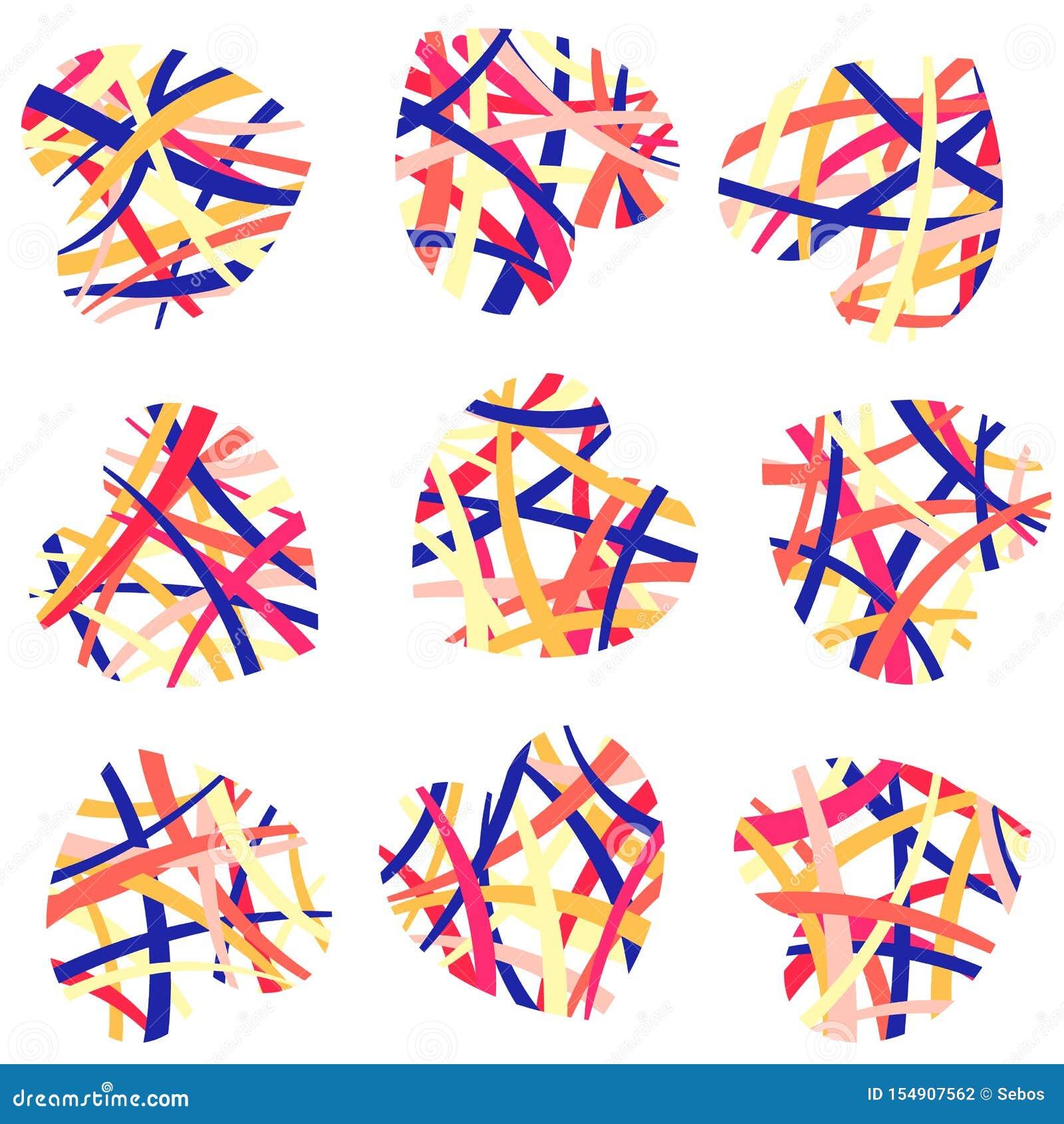 Ställ in av vävde samman kulöra abstrakta hjärtor Symbolet av förälskelse, valentindagen, vektor isolerade objekt